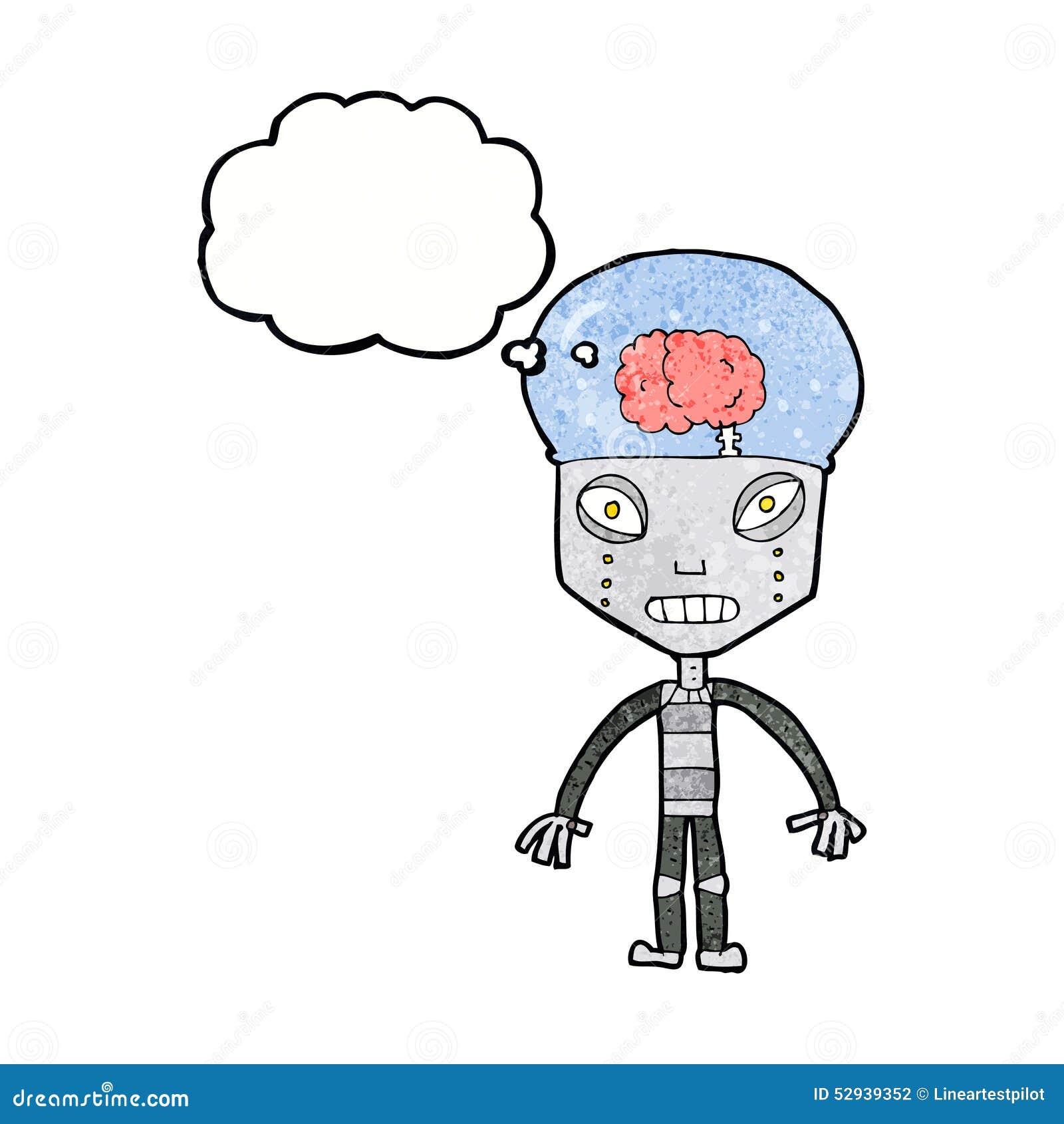 De robot étrange de cartoonw avec la bulle de pensée