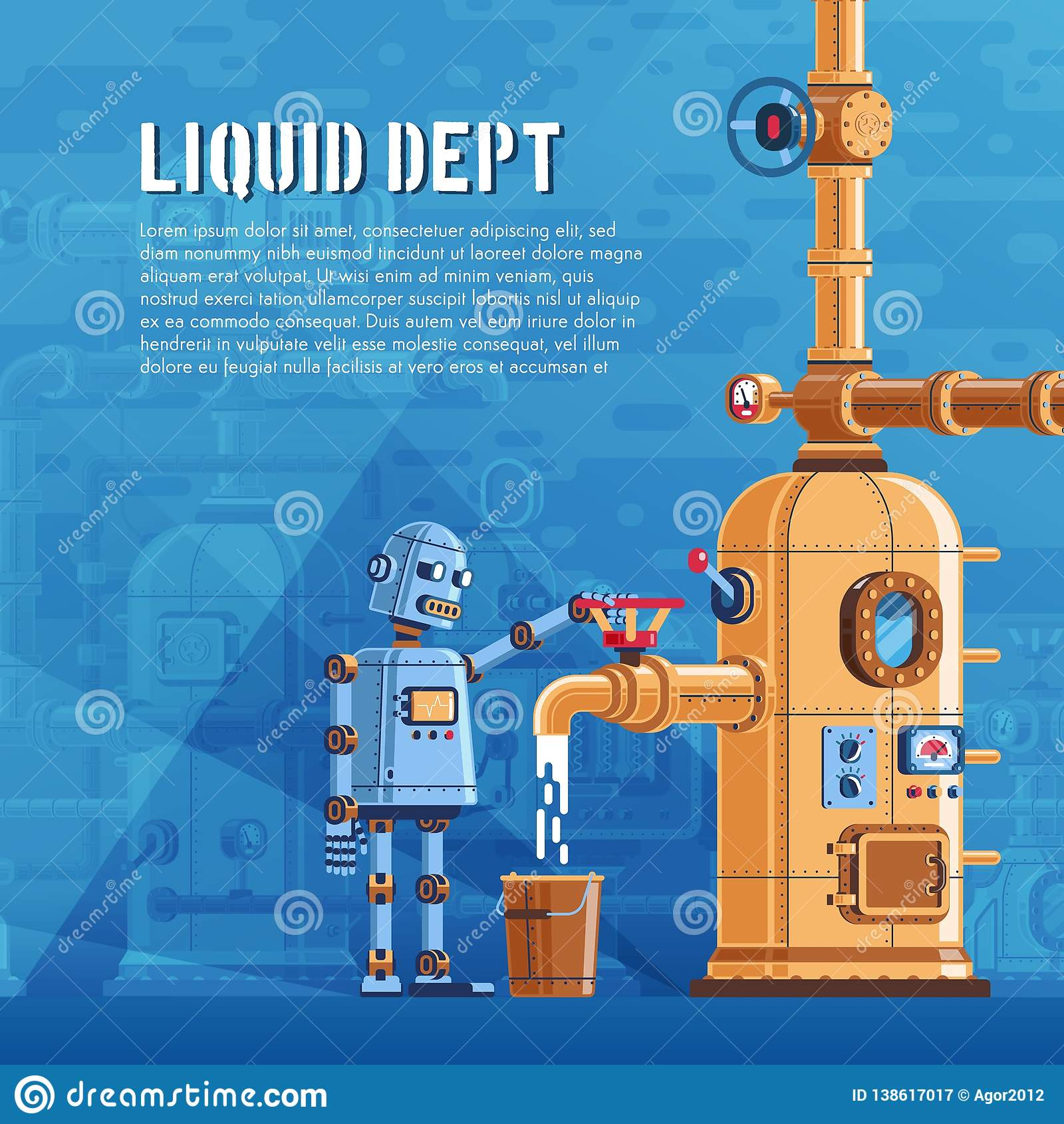 De robot giet vloeistof van een reservoir