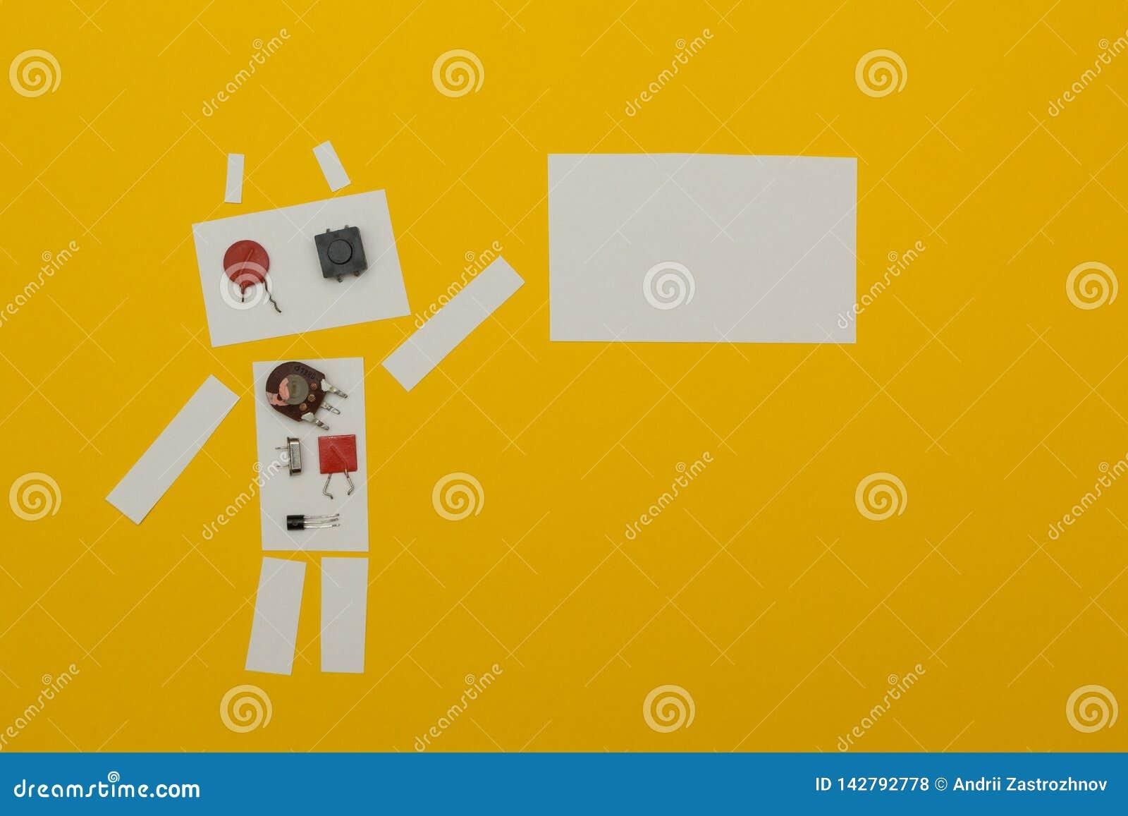 De robot houdt een affiche van document, plaats voor tekst