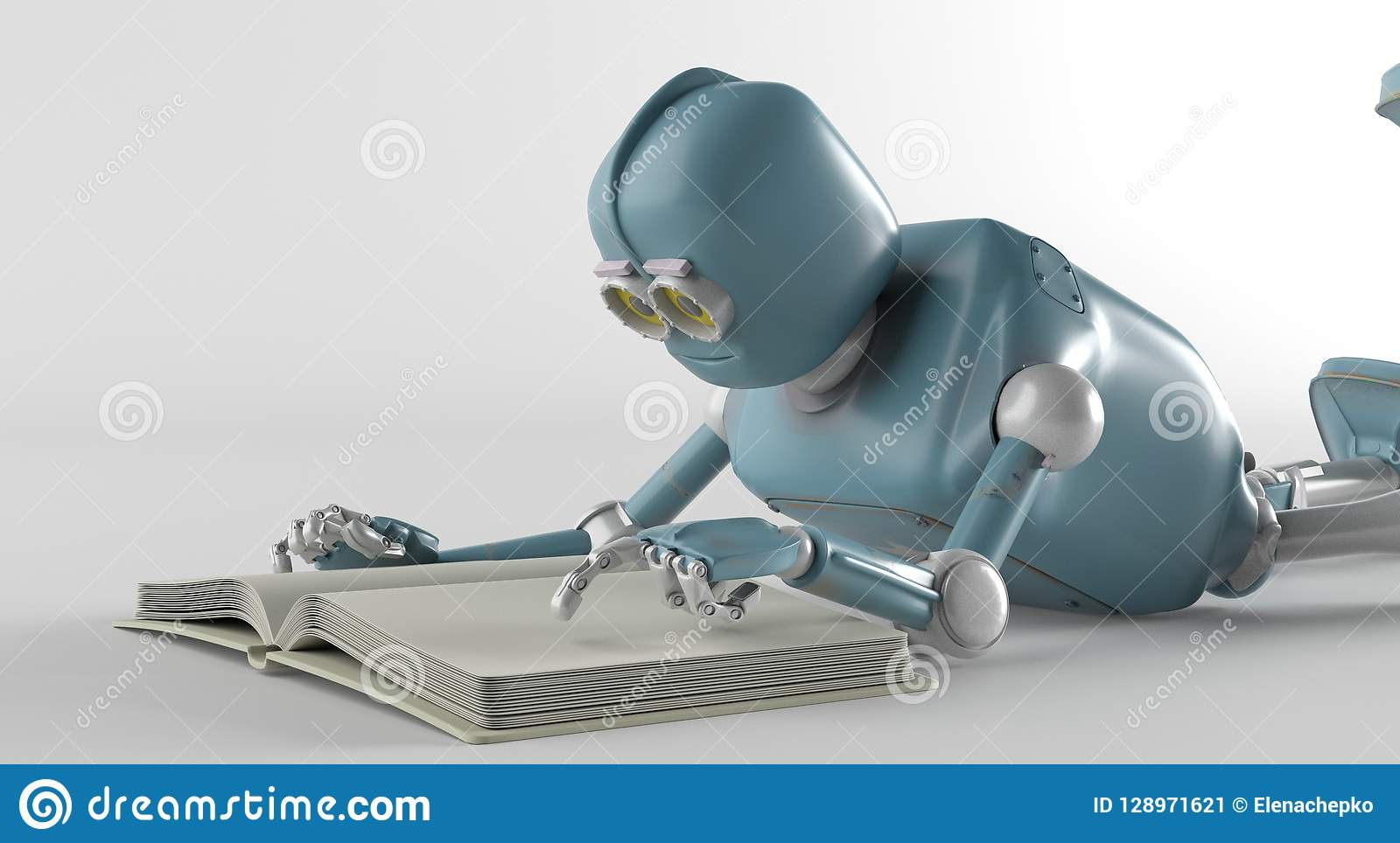 De robot met 3d boek, geeft terug