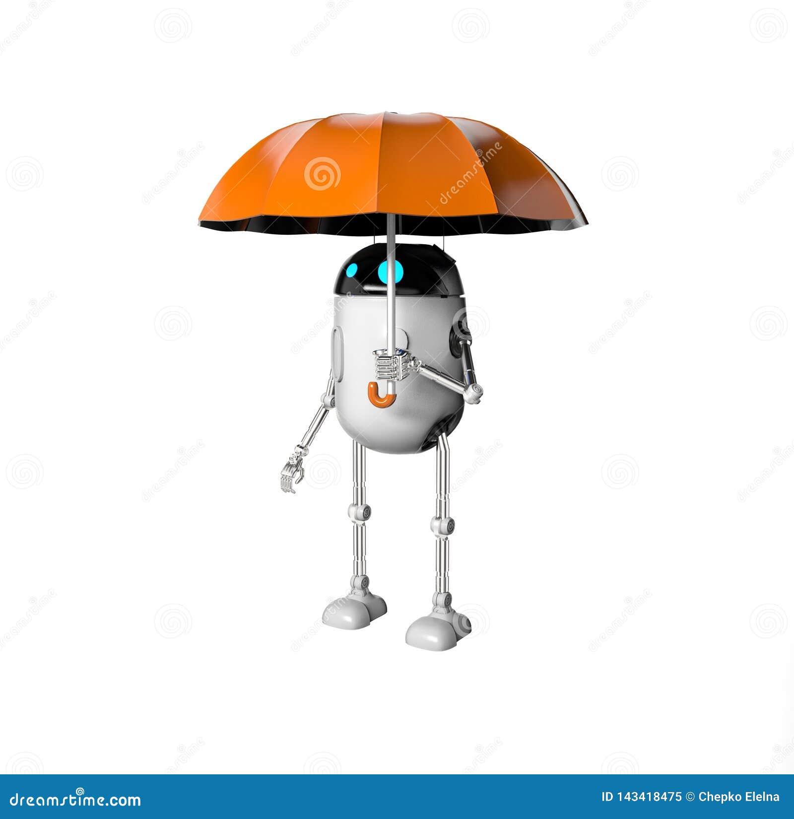 De robot met 3d paraplu, geeft terug