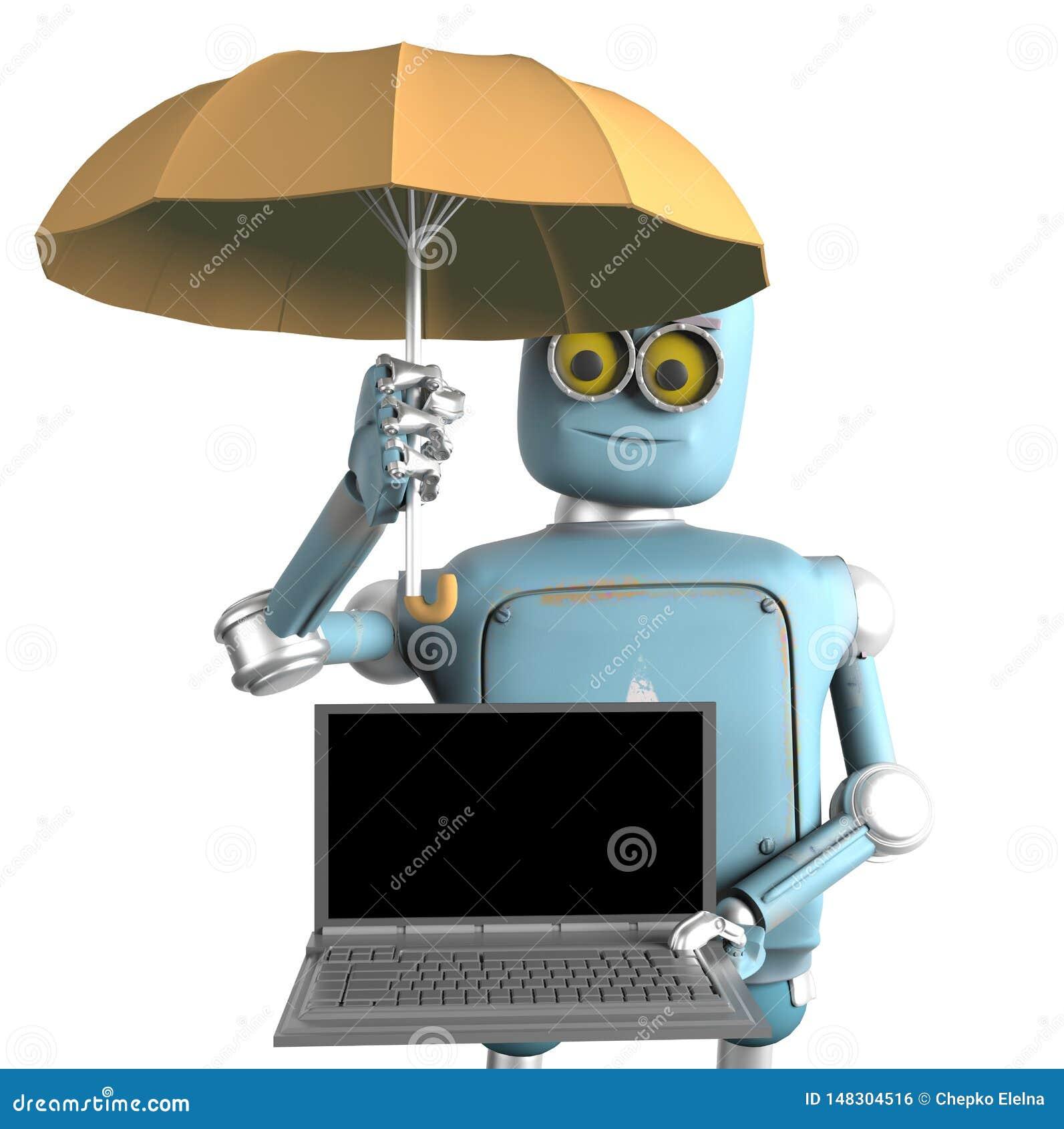 De robot met paraplu beschermt laptop 3d geef terug