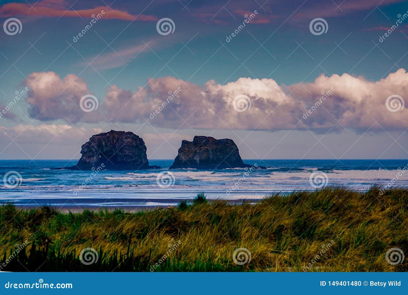 De Rockaway-Rotsen op de Kust van Oregon