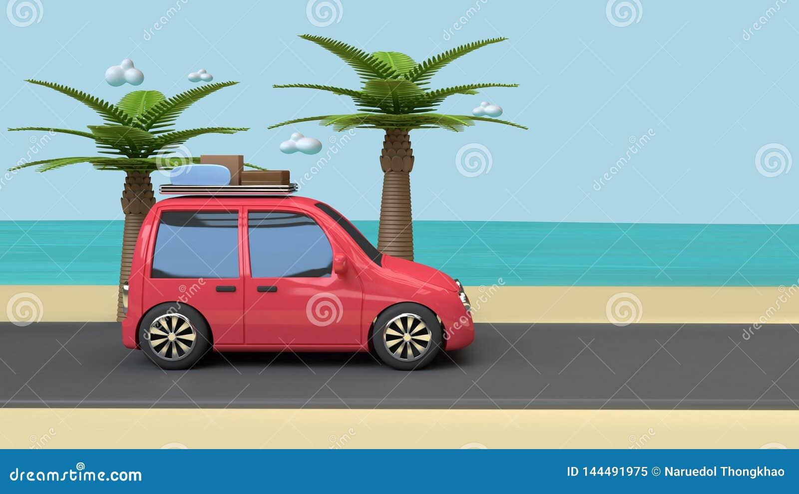 De rode autoreis op blauwe de hemeloverzees van het wegstrand met van het kokosnoot-palm 3d de stijl bomenbeeldverhaal geeft de z