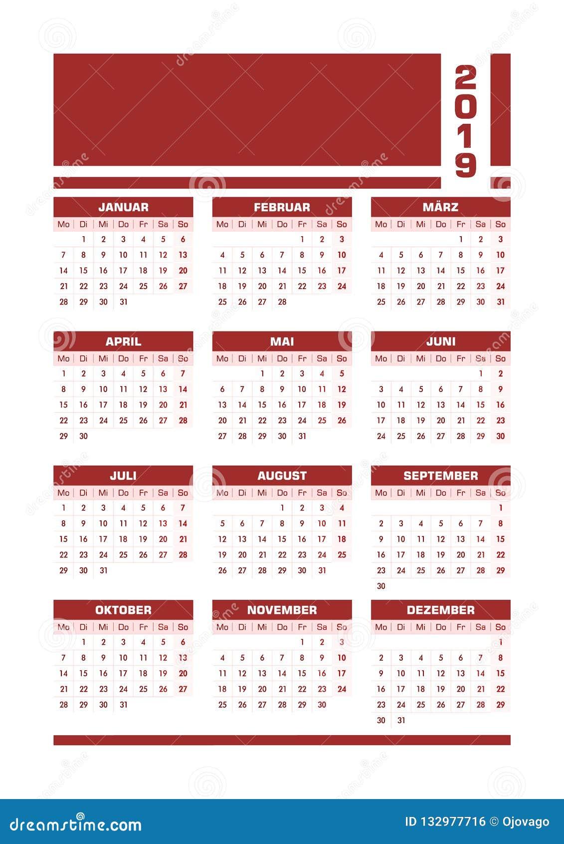 De rode Duitse kalender van 2019
