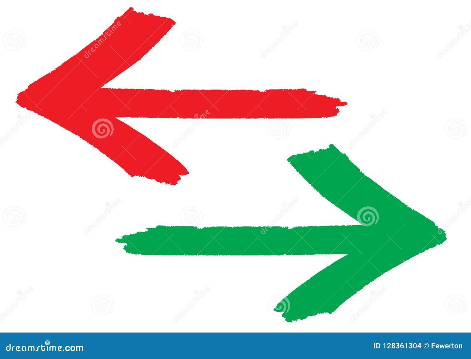 De rode en groene die grungy tekens van de pijlenrichting met handborstel worden geschilderd met ruwe overzichtsslag