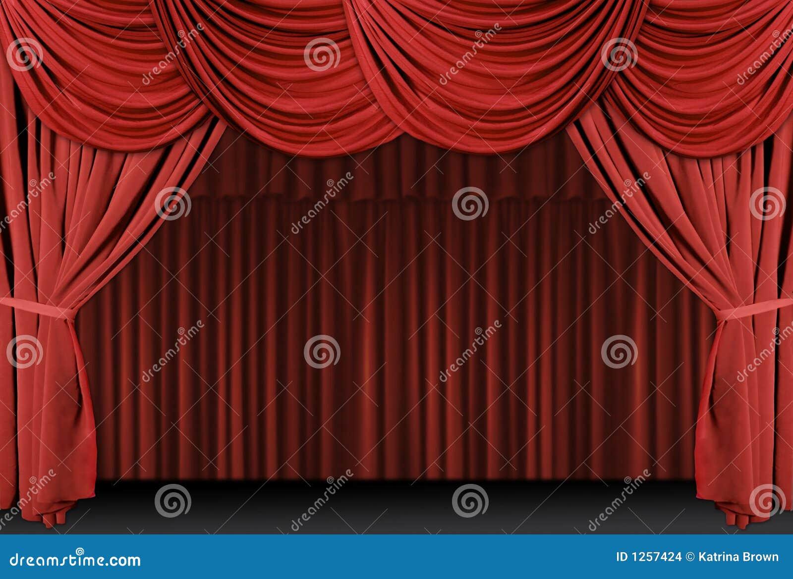 De Gedrapeerde Gordijnen Van Het Theater Stock Illustratie ...