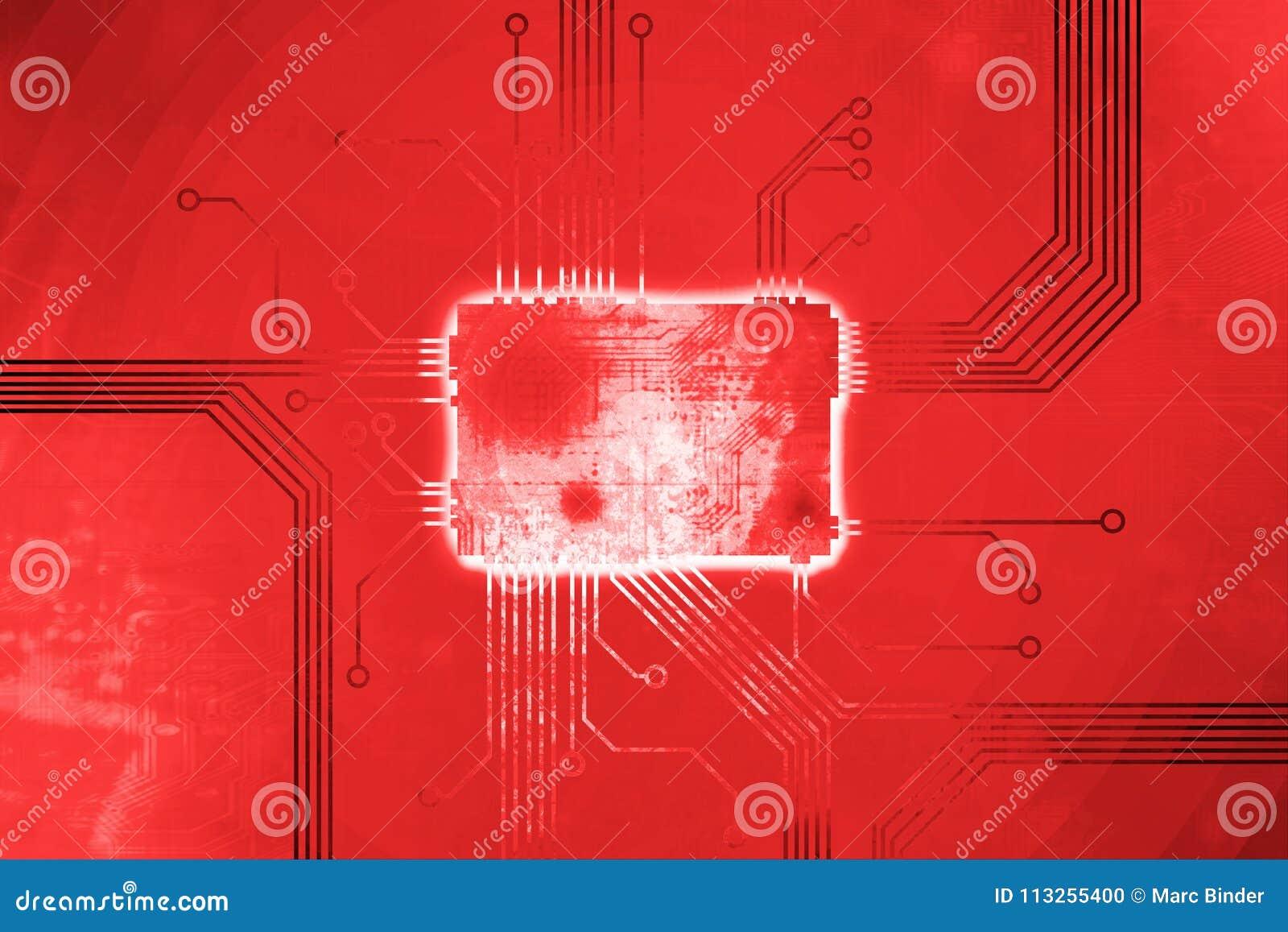 De rode Gekleurde kern van de digitale computerspaander