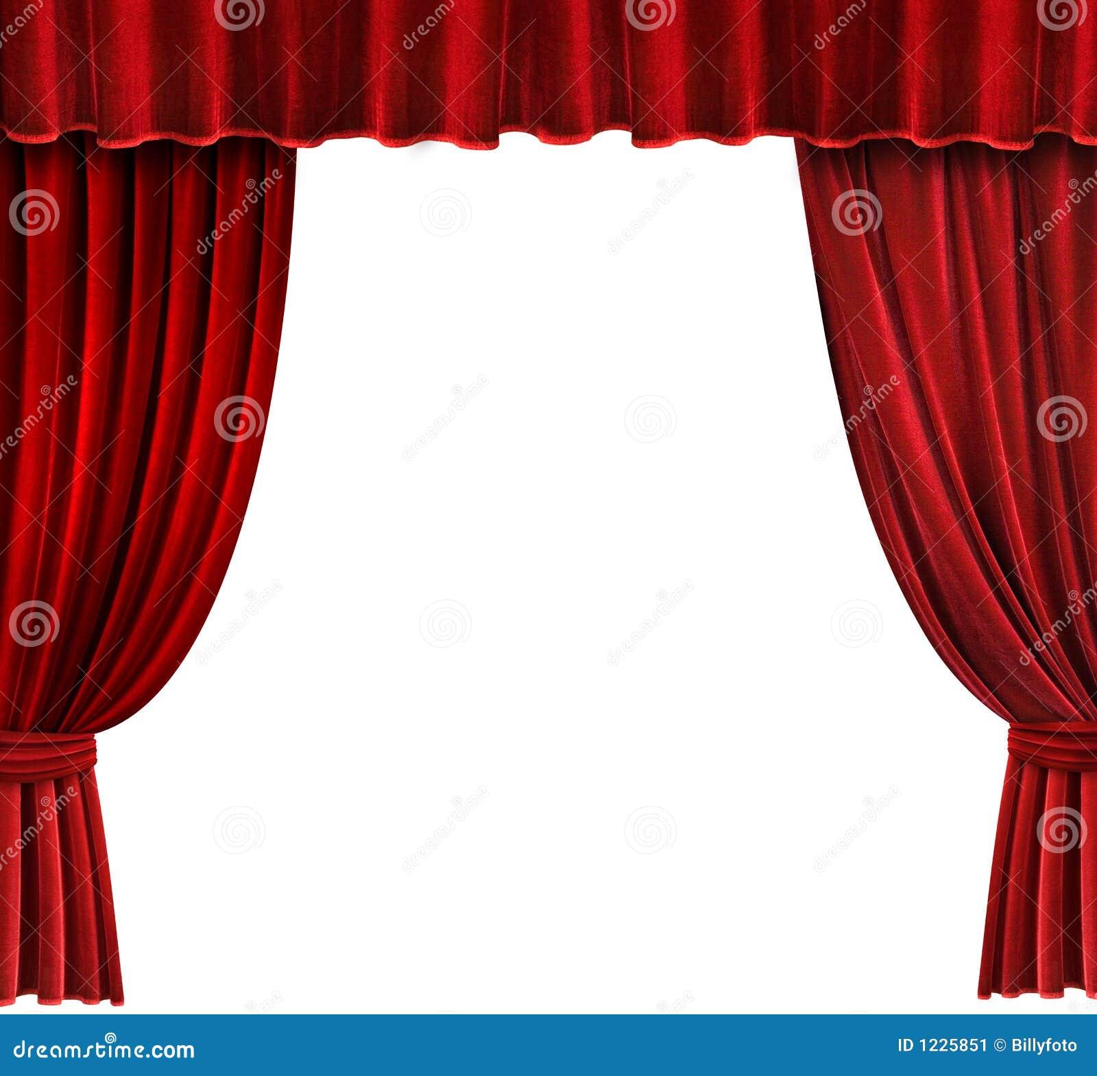 de rode gordijnen van het theater van het fluweel