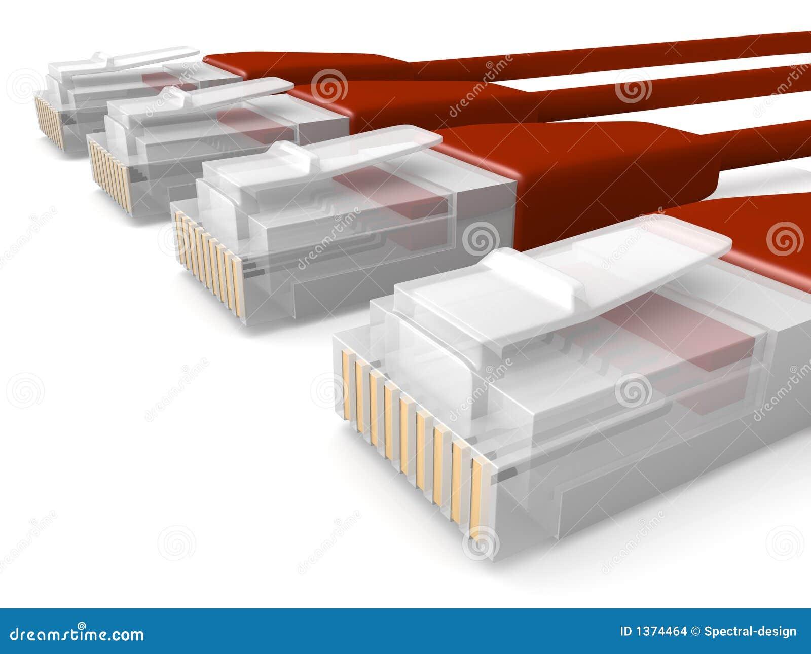 De rode Kabels van het Netwerk