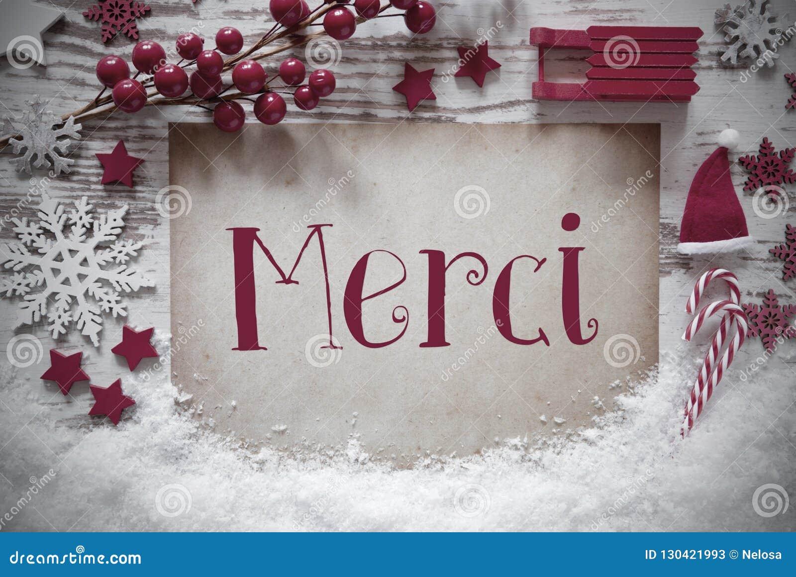 De rode Kerstmisdecoratie, Sneeuw, Merci-Middelen dankt u