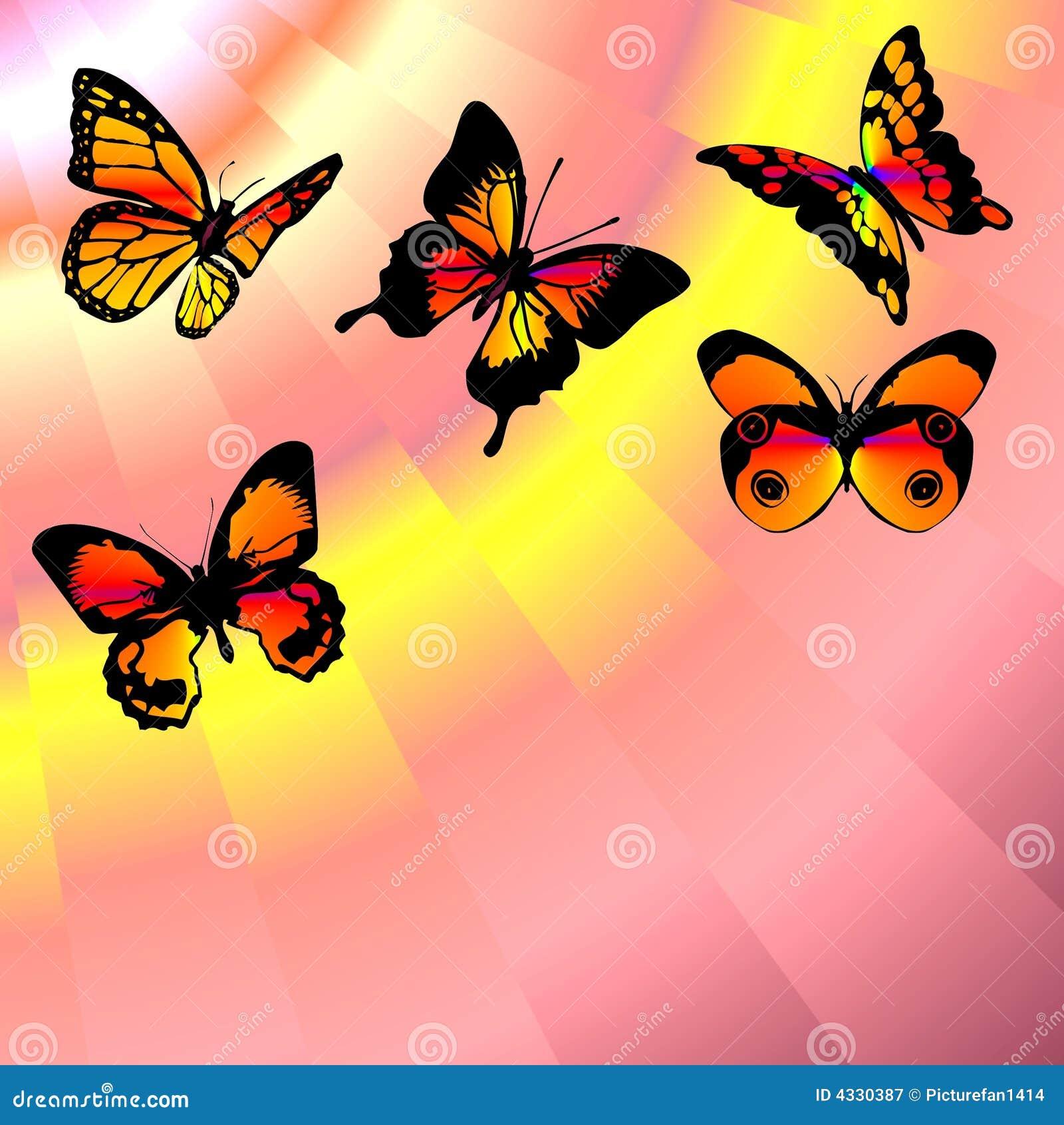 De rode lucht van vlinders royalty vrije stock fotografie ...
