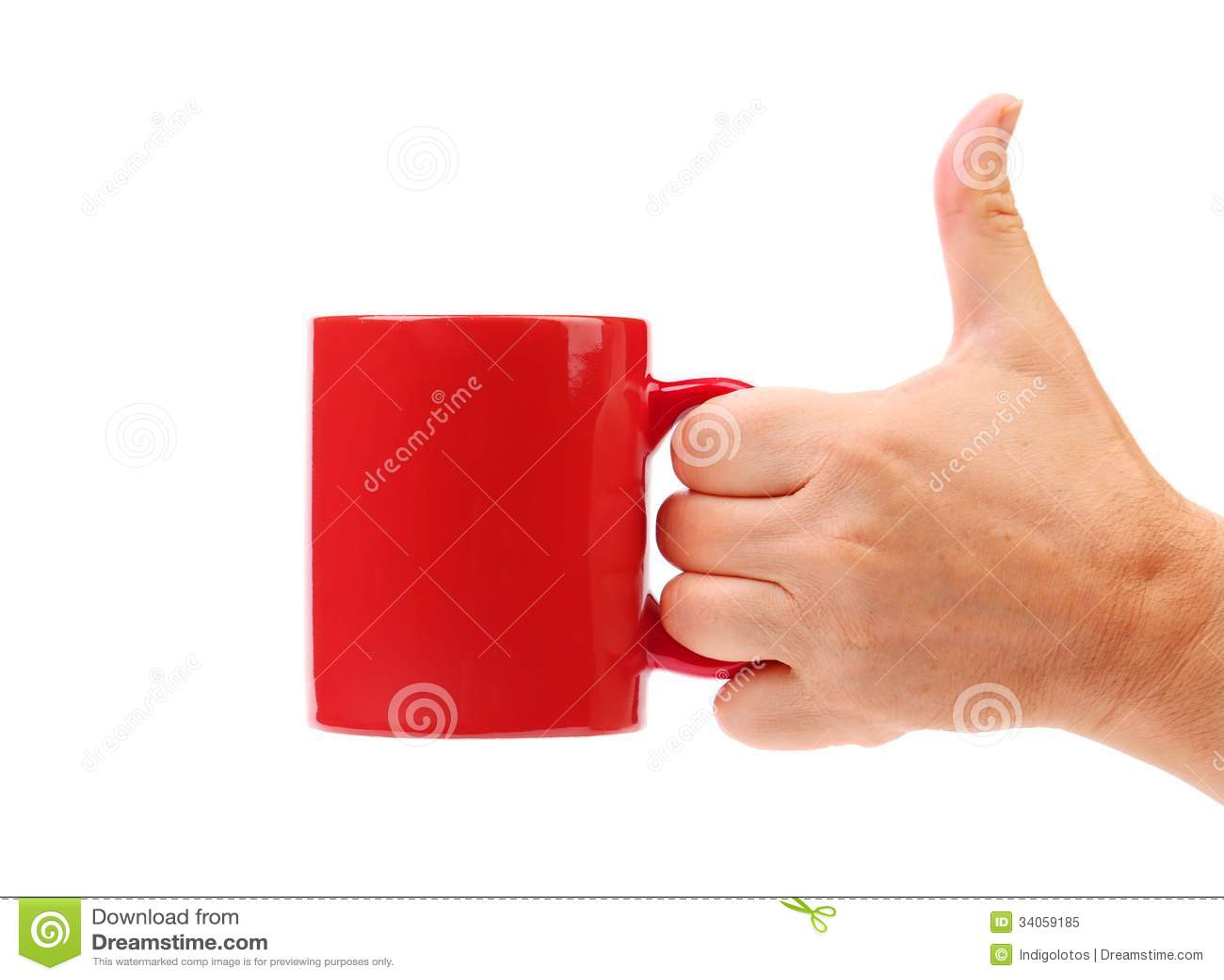 De rode mok van de handgreep.