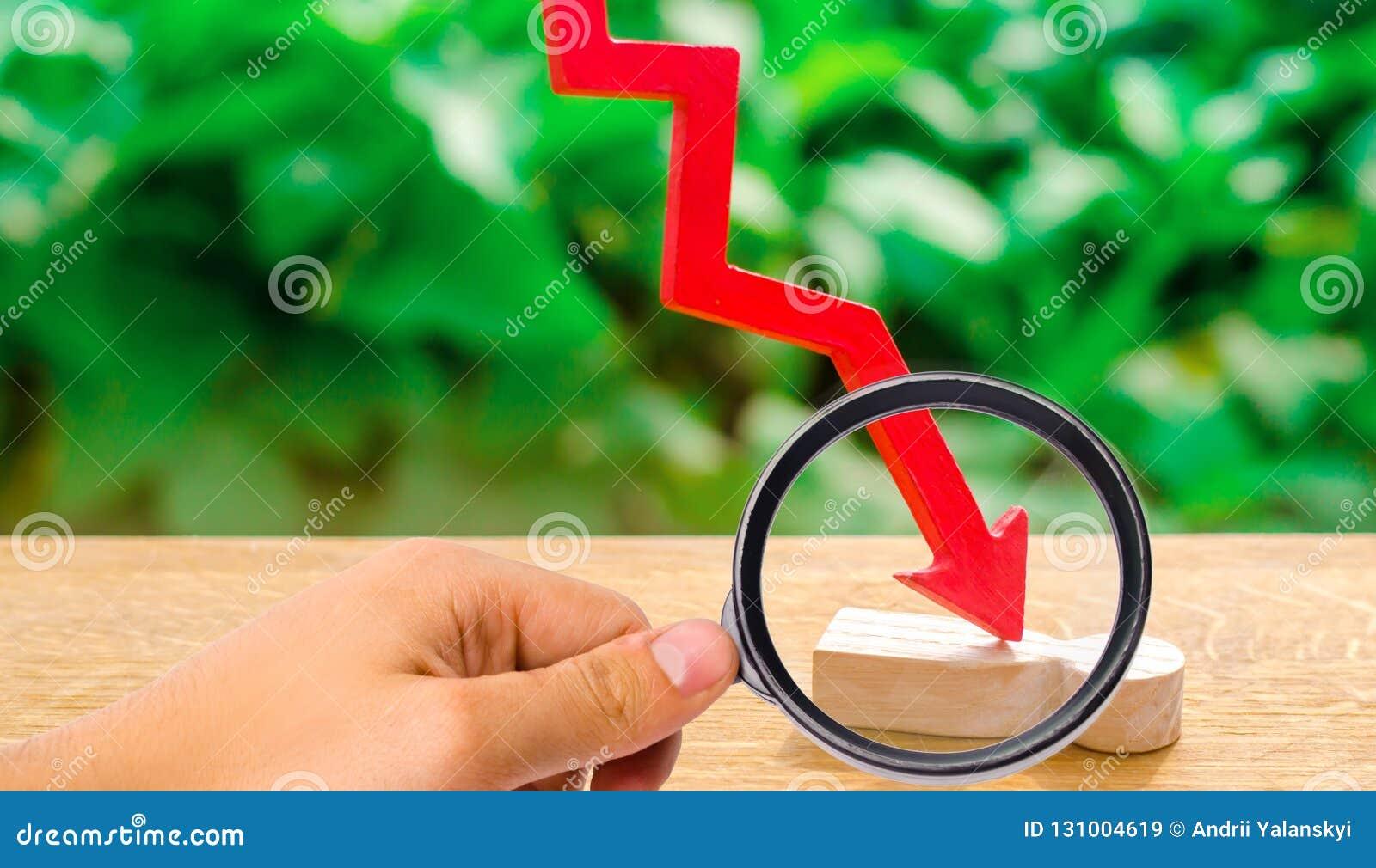 De rode pijl splijt de persoon Slachtoffer van de economische crisis,