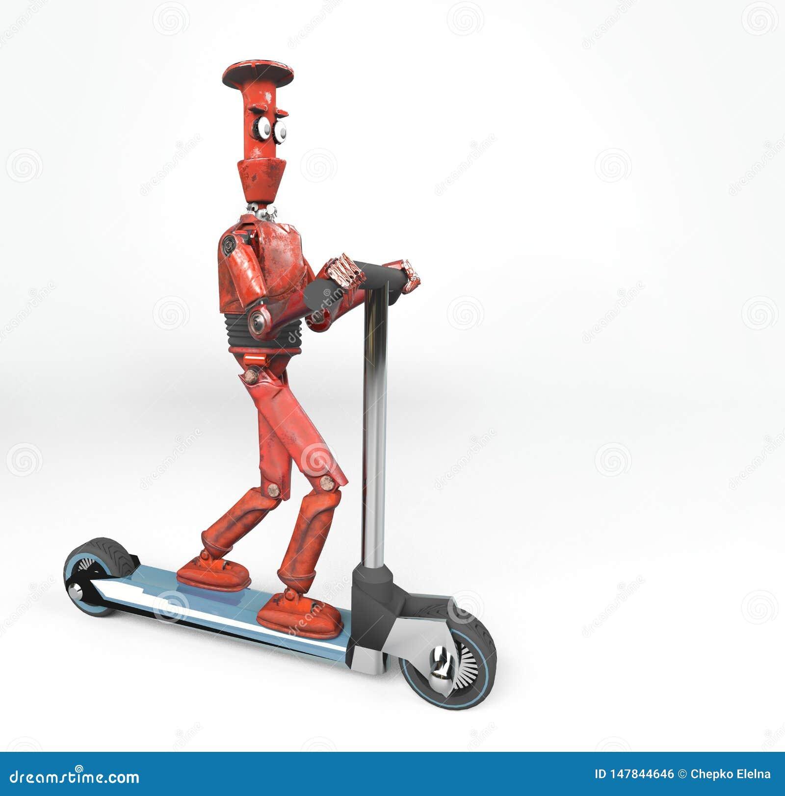 De rode retro robot op 3d autoped, geeft terug