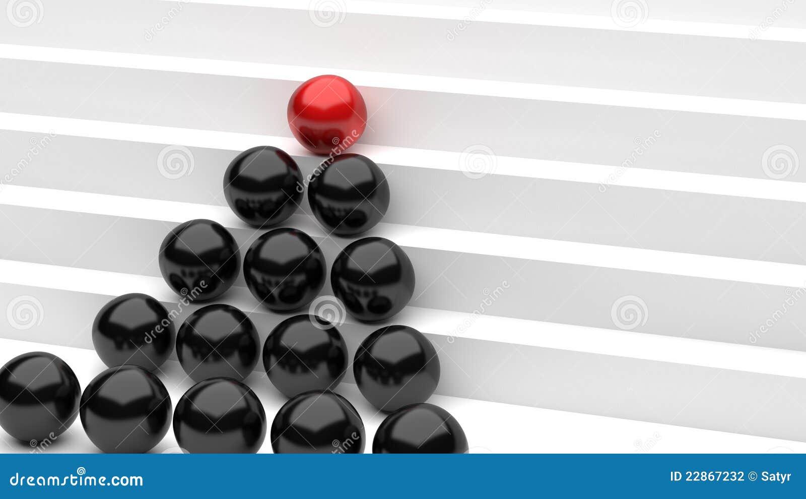 De rode zwarte ballen van de groei
