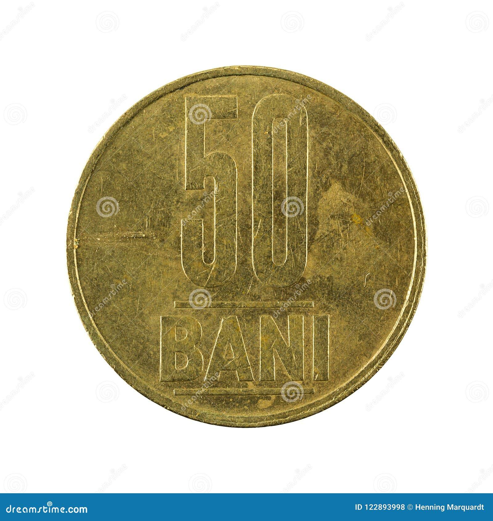 50 de Roemeense die obvers van het verbodsmuntstuk 2005 op witte achtergrond worden geïsoleerd