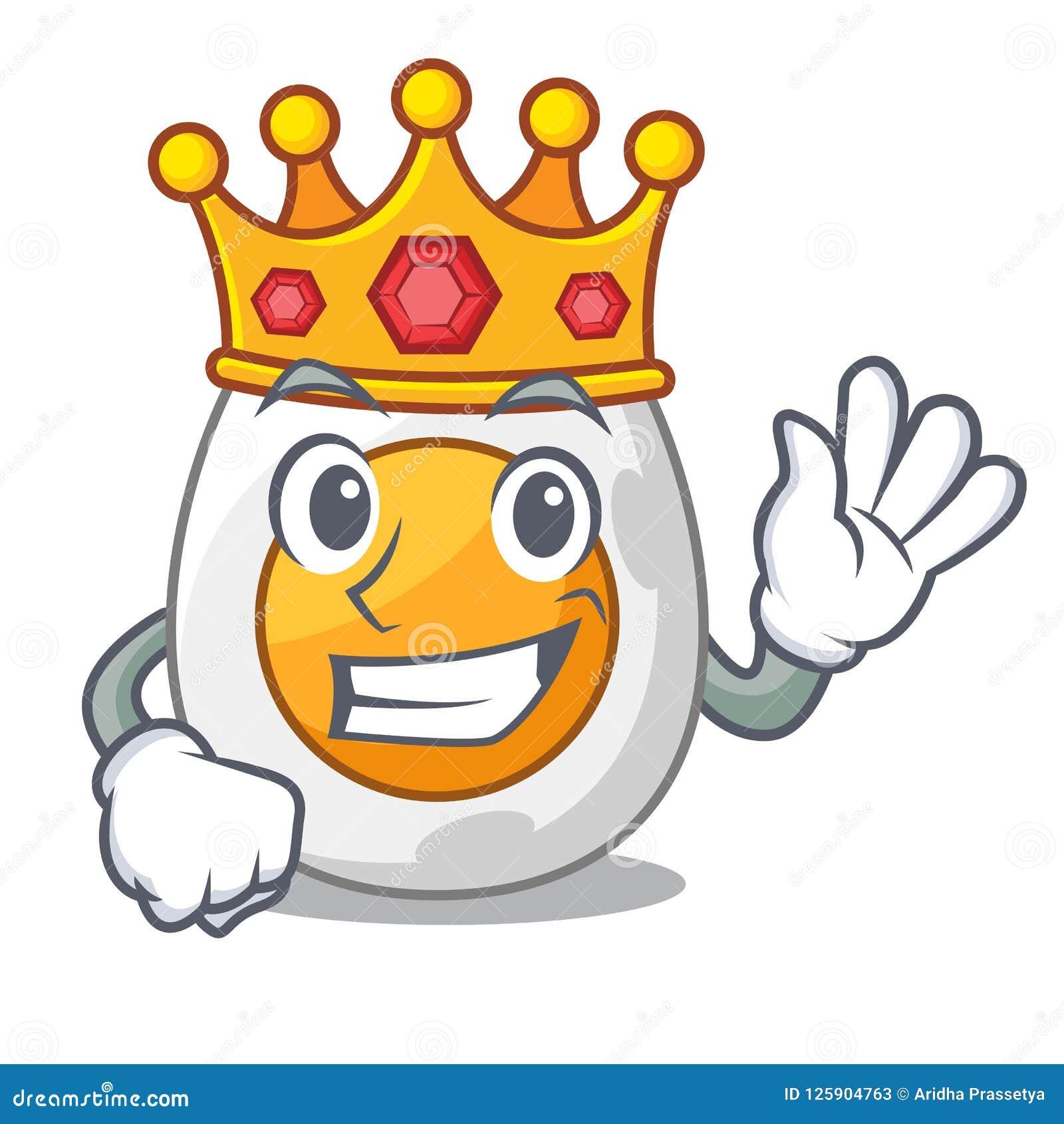 De roi oeuf à la coque fraîchement d isolement sur la bande dessinée de mascotte