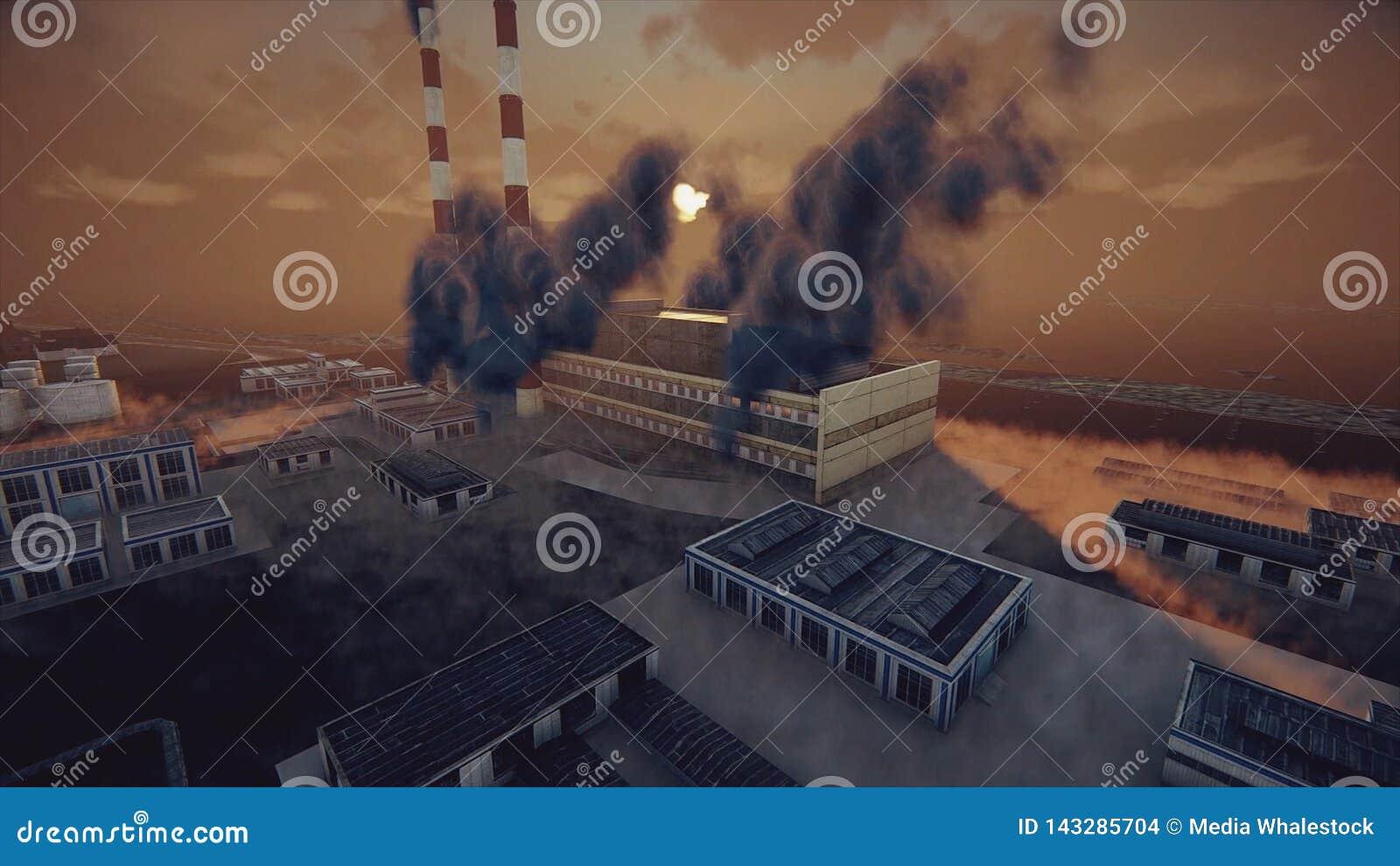 De rokende schoorstenen van de installatie en de abstracte fabriek in dikke smog, ecologisch problemen en luchtvervuilingsconcept