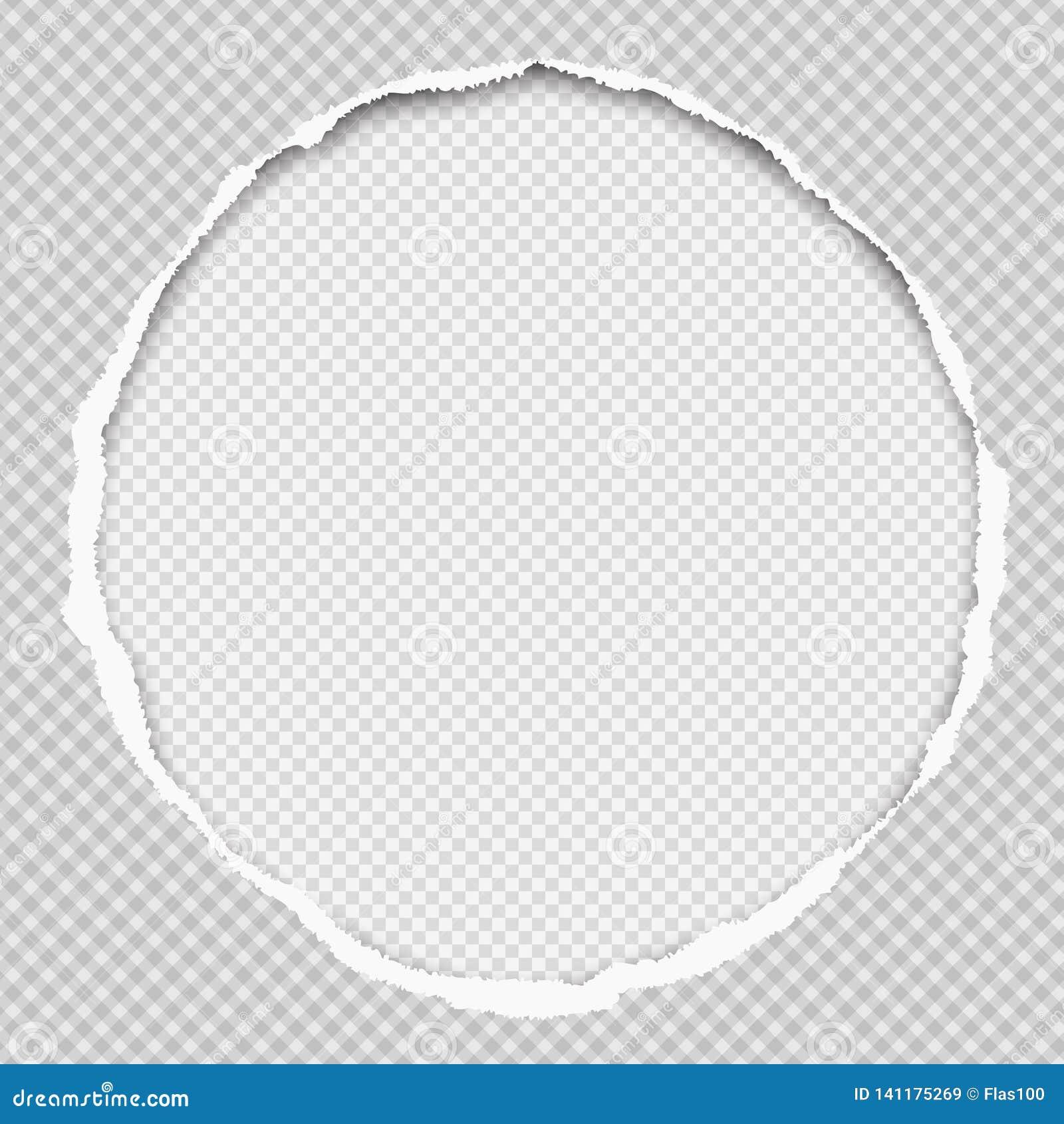 De ronde document samenstelling met gescheurde randen en zachte schaduw is op witte geregelde achtergrond Vector illustratie