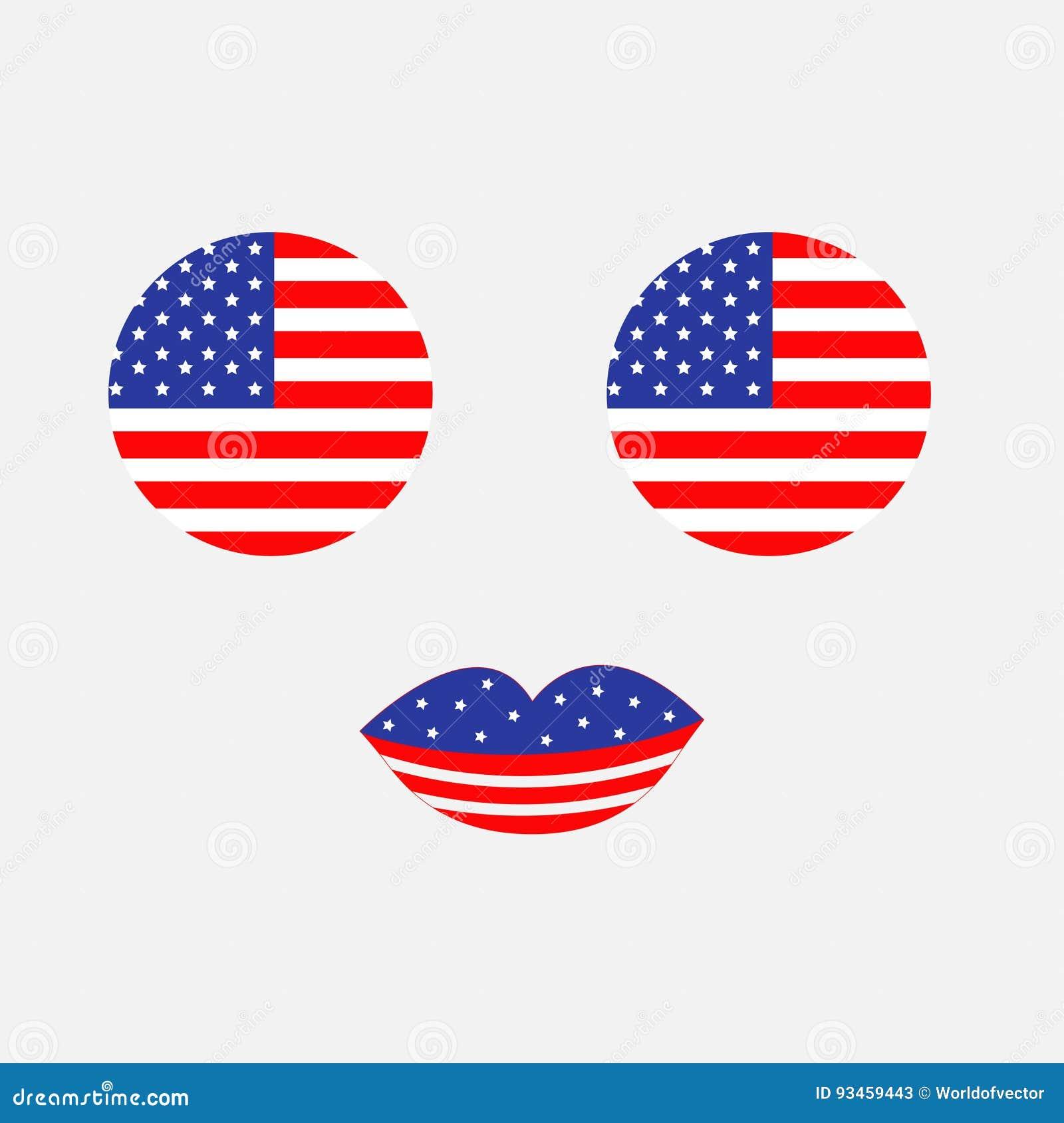 De ronde reeks van het de vlagpictogram van de cirkelvorm Amerikaanse Gezicht met ogen en lippen Ster en strook De Verenigde Stat
