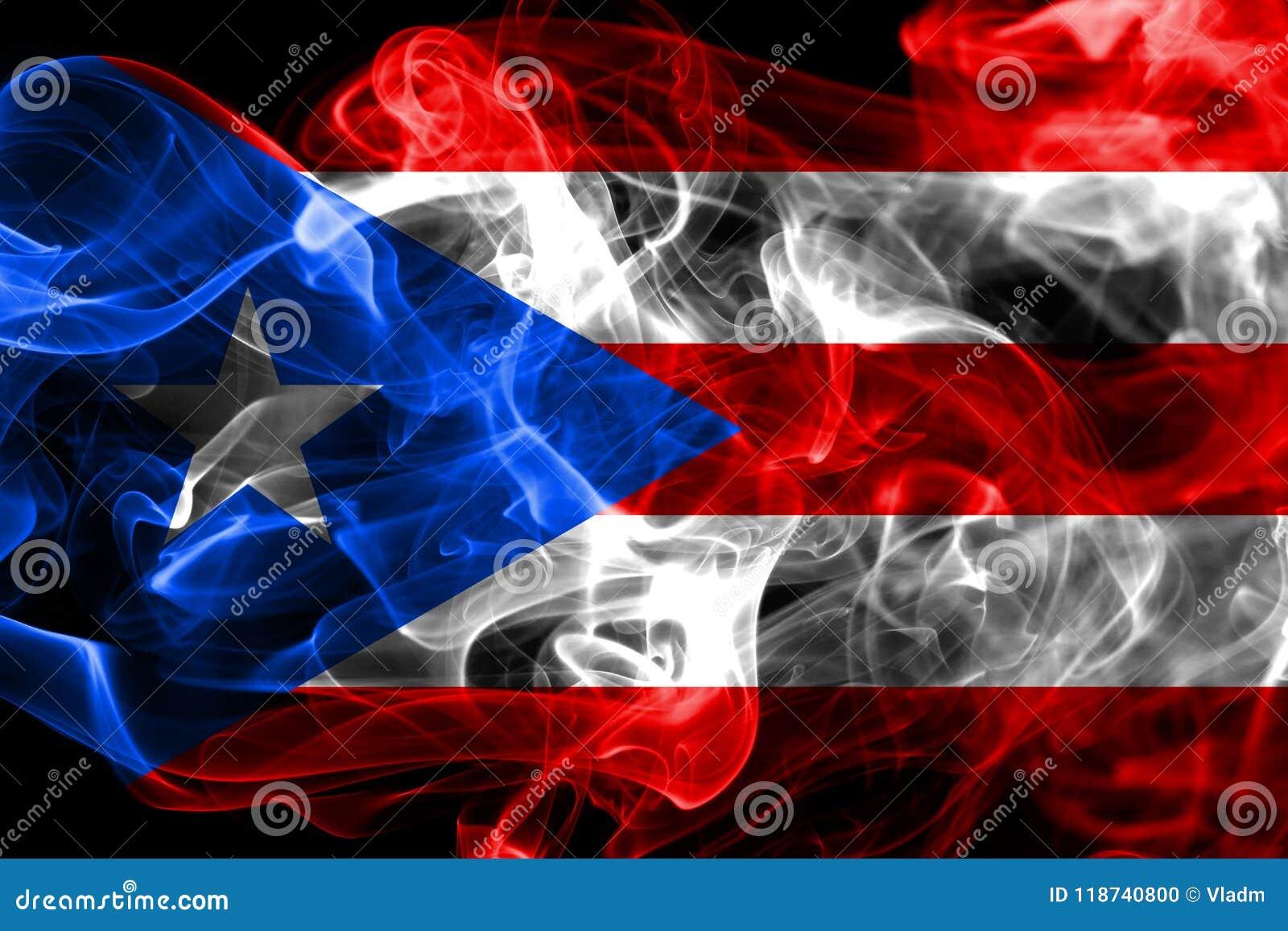 De rookvlag van Puerto Rico, vlag van het grondgebied van Verenigde Staten de afhankelijke