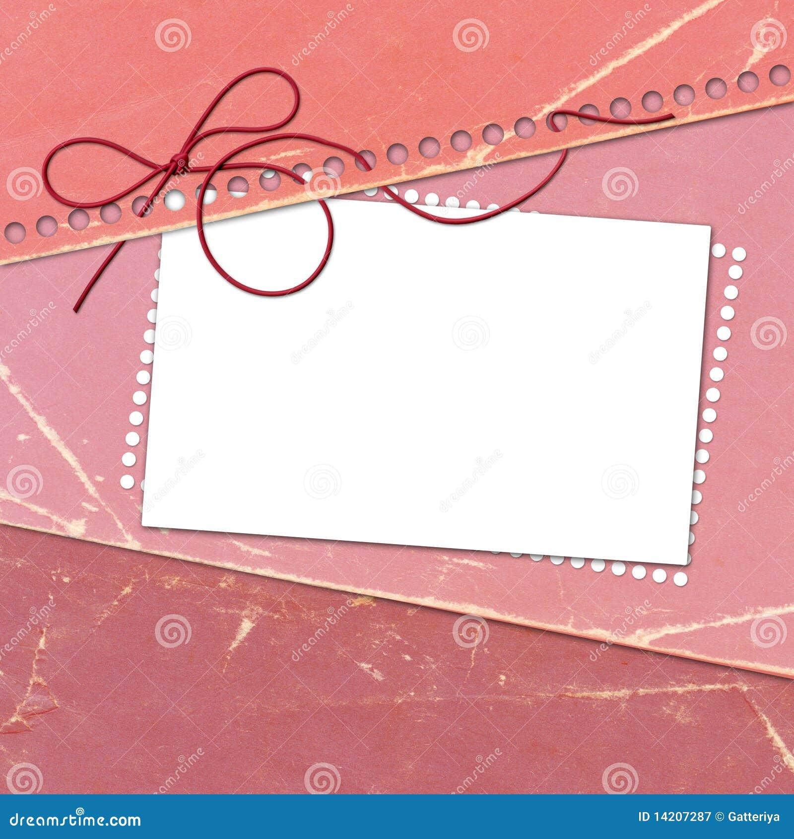 De rooskleurige kaart van de gelukwens met blad voor ontwerp
