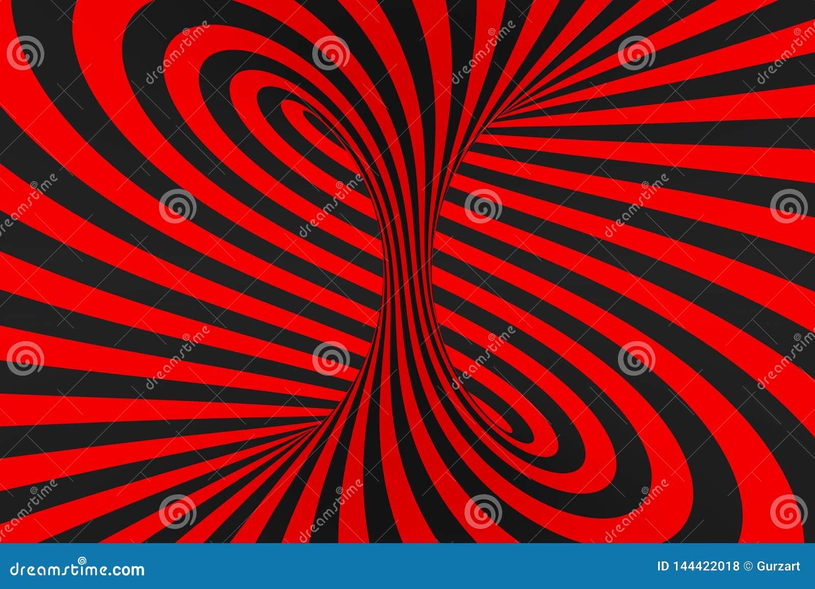 De roosterillustratie van de torus 3D optische illusie Hypnotic zwart en rood buisbeeld Contrast die lijnen, strepenornament verd