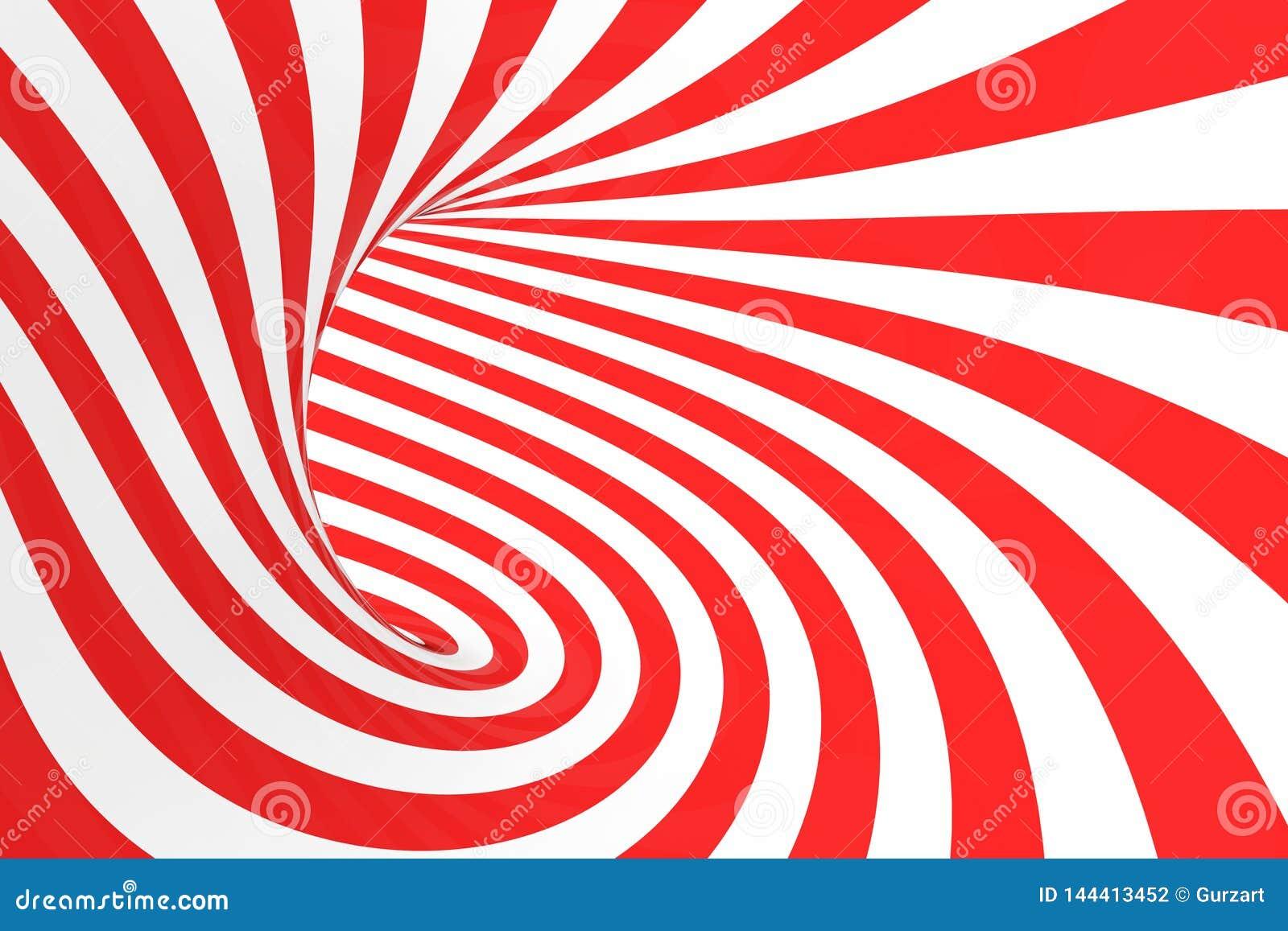 De roosterillustratie van de wervelings optische 3D illusie Contrast rode en witte spiraalvormige strepen Geometrisch torusbeeld