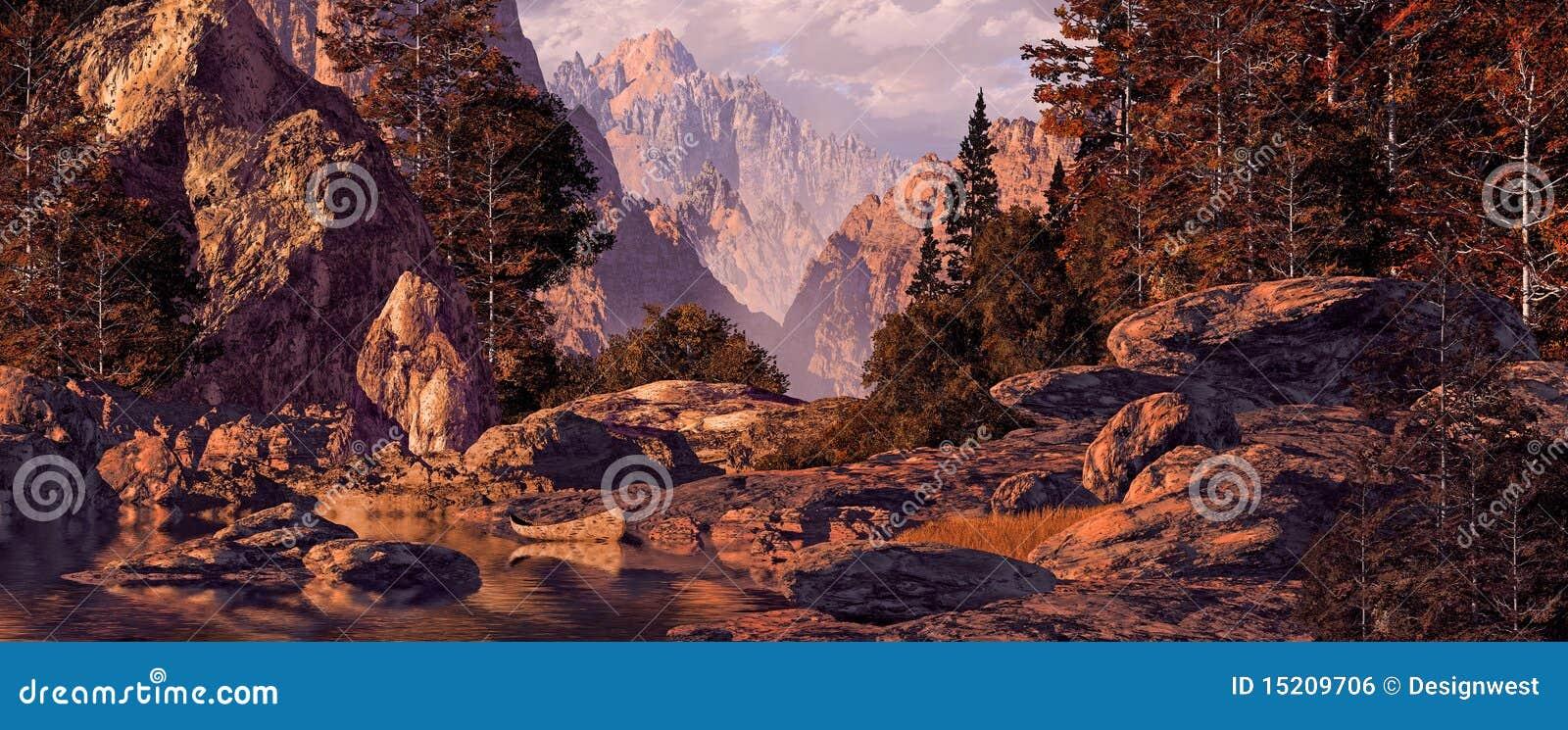 De rotsachtige Reis van de Kano van Bergen