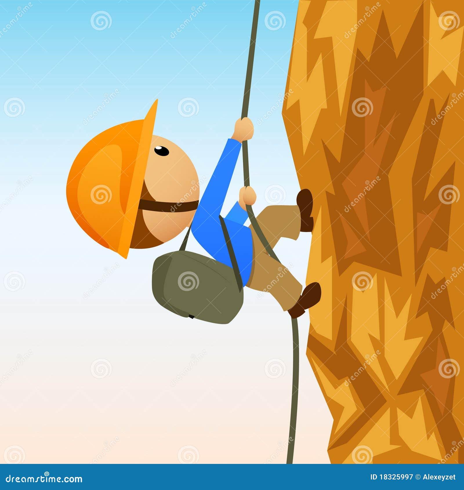 De rotsklimmer van het beeldverhaal op verticale cliffside