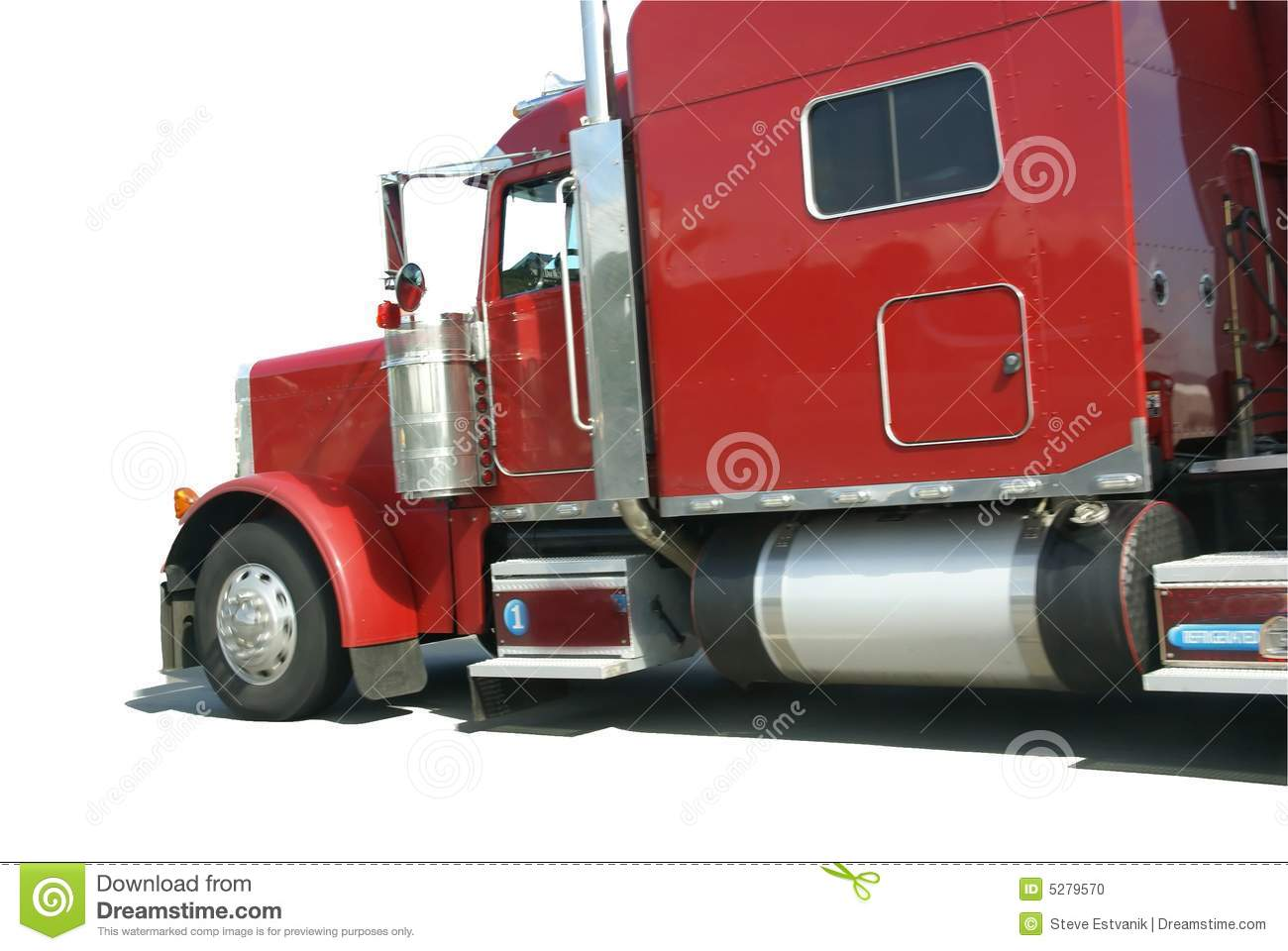 De rouge camion semi, d isolement