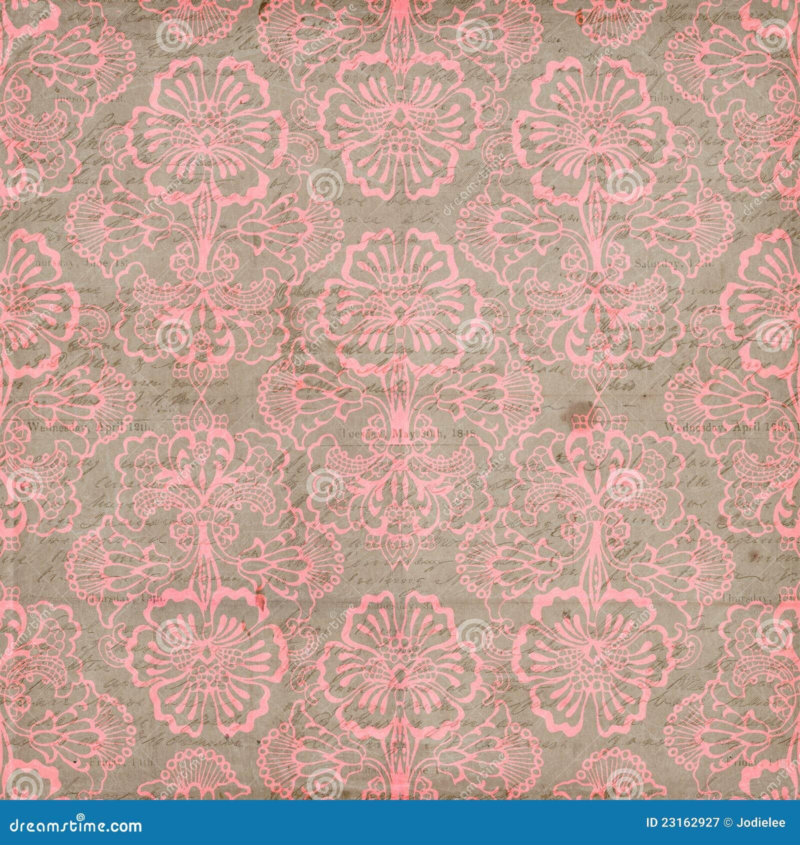 De roze en Bruine Grungy Uitstekende achtergrond van de Bloem