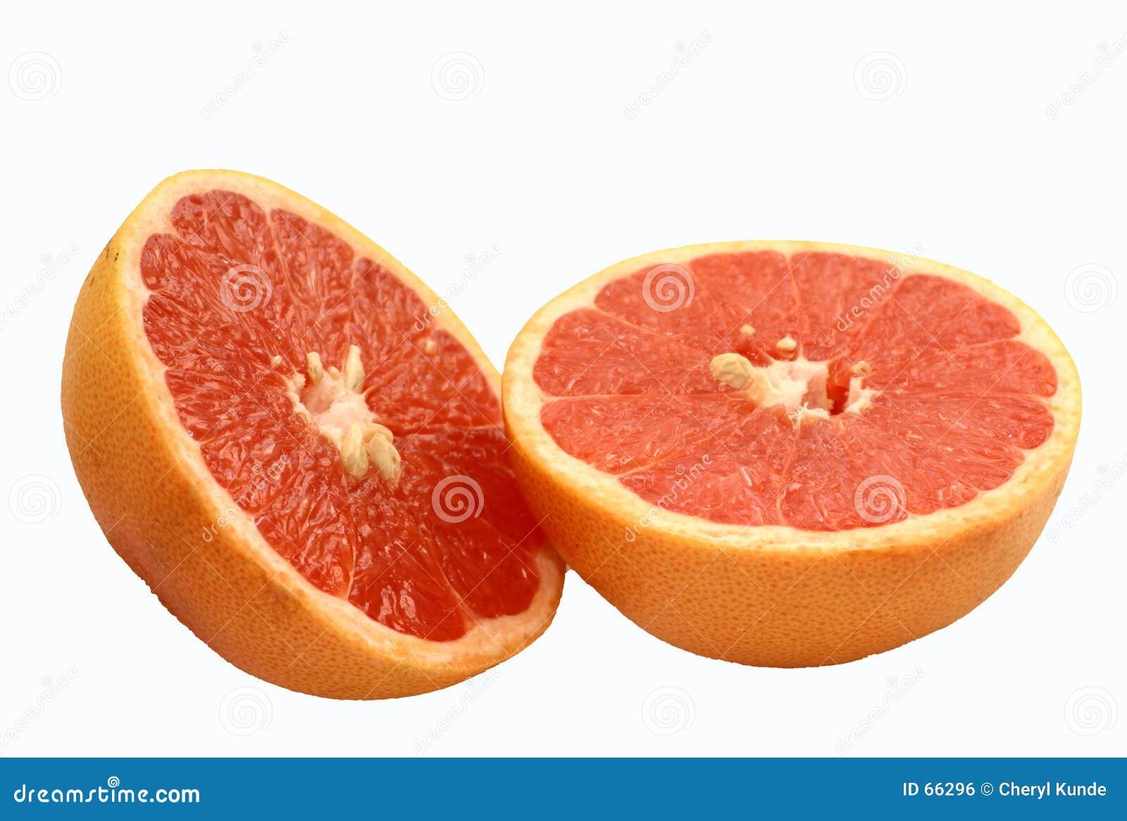 De roze Helften van de Grapefruit