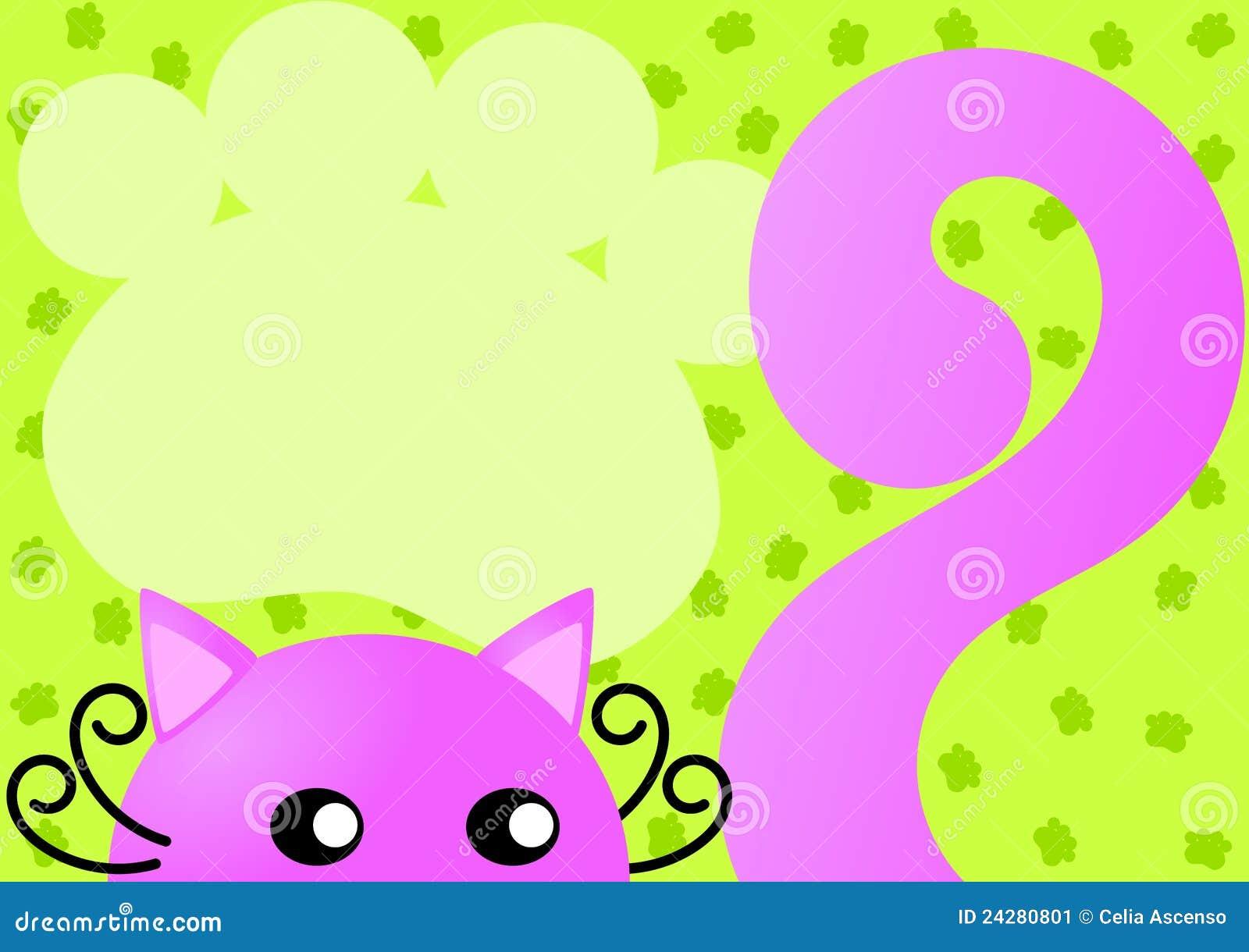 De roze Kaart van de Uitnodiging van de Kat