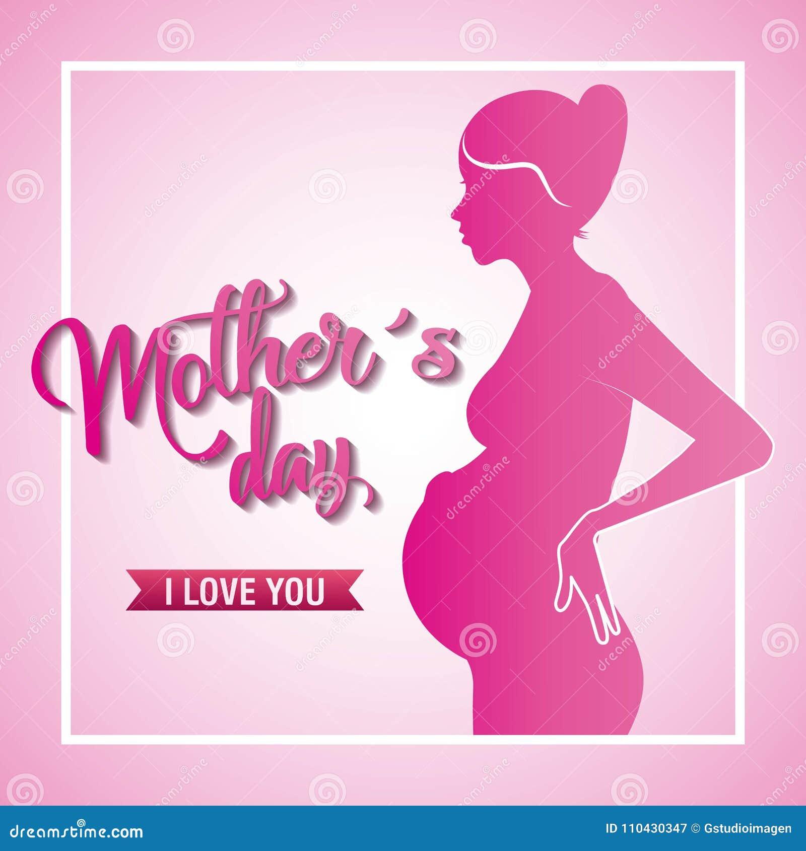 De roze de moedersdag van de silhouet zwangere vrouw houdt van u