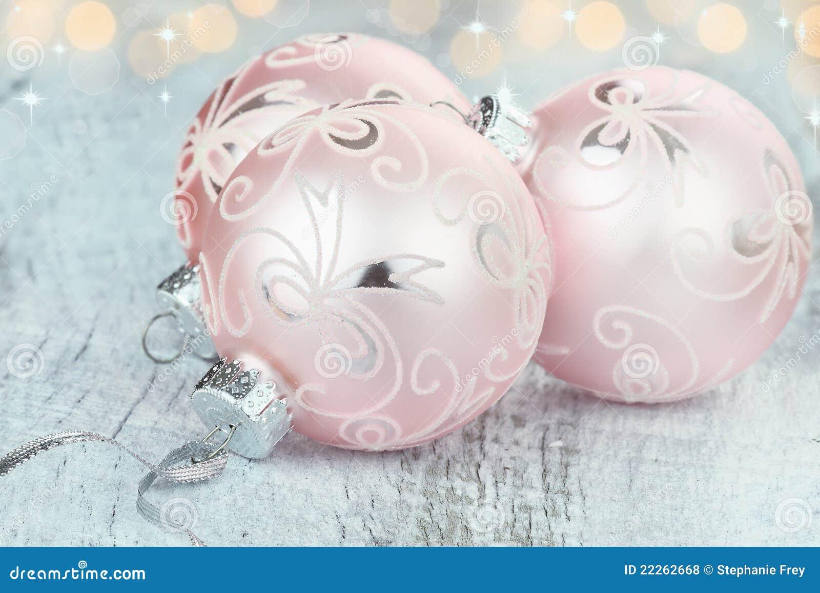 De roze Ornamenten van Kerstmis