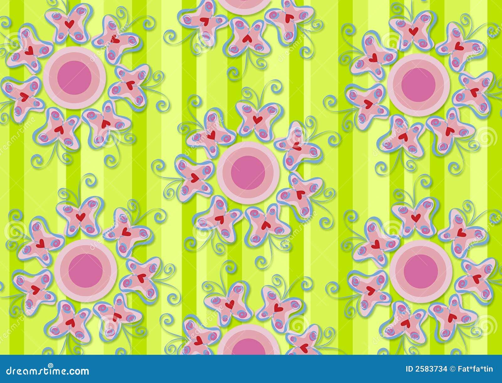 De roze tuin van hartvlinders