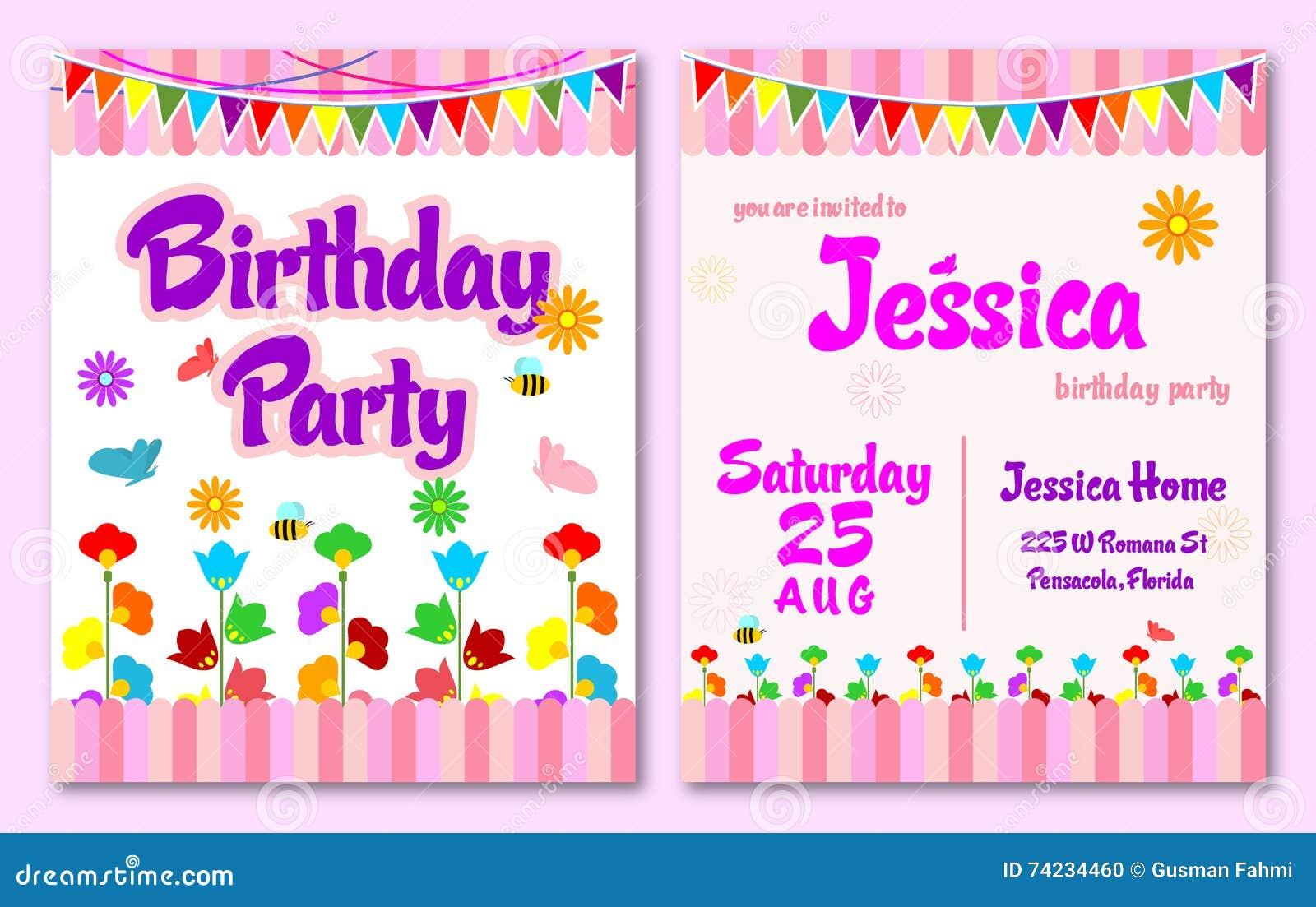 De roze van de de tuinverjaardag van de themabloem kaart van de de jonge geitjesuitnodiging