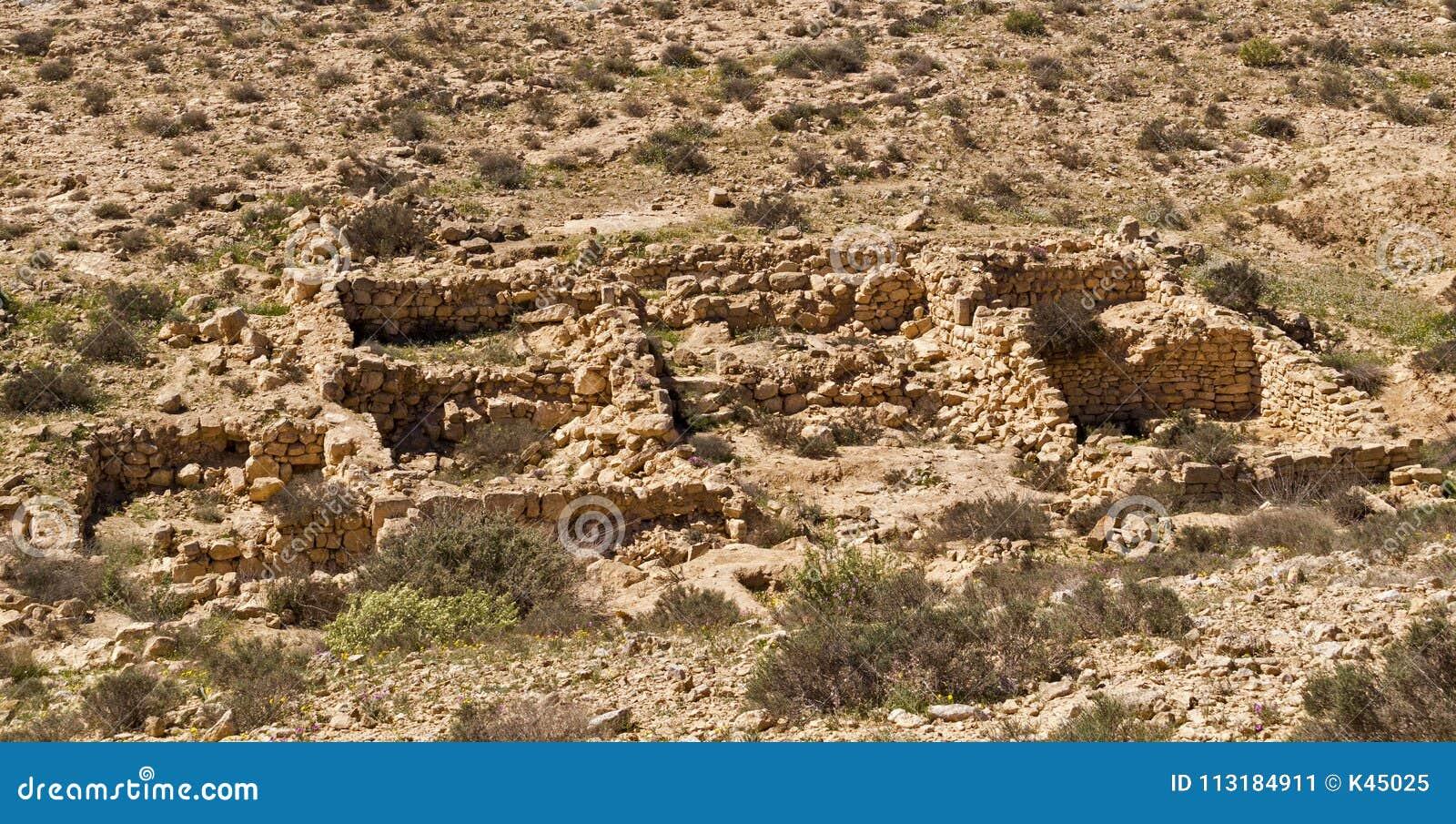 De ruïnes van een oude regeling ` verloren Stads` Negev woestijn, Israël