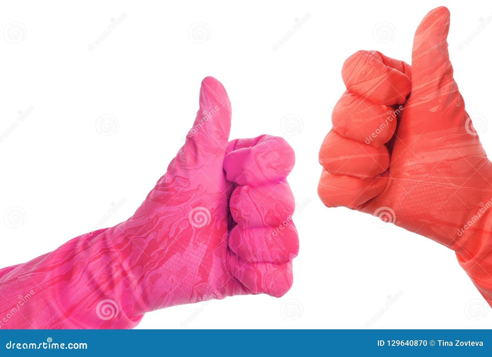De rubberhandschoenen tonen o.k. teken