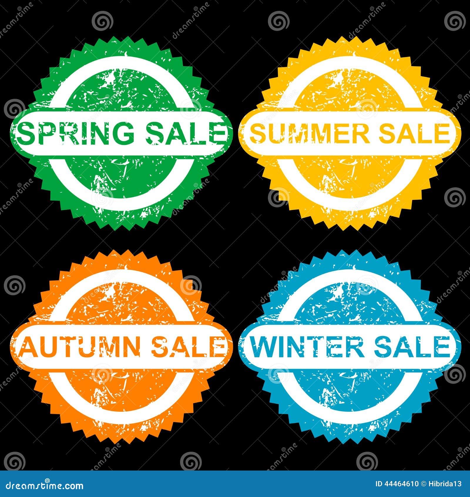 De rubberzegels met tekst springen verkoop op, sumer verkoop, de herfstverkoop en