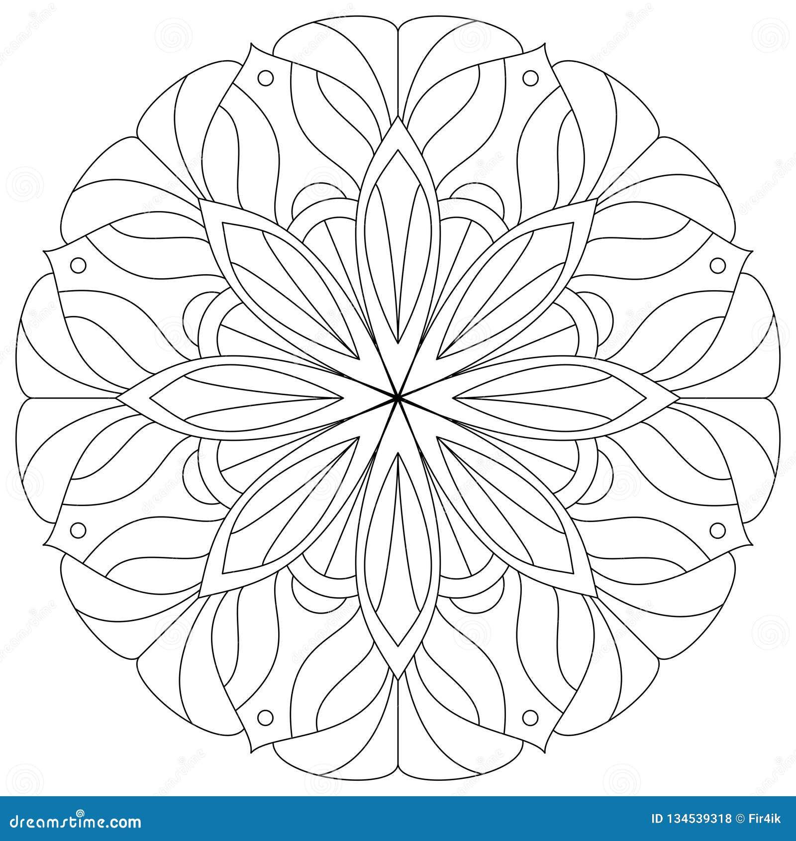 De rug van bloemmandala human Cijfer van een jong meisje Vector digitale illustratie