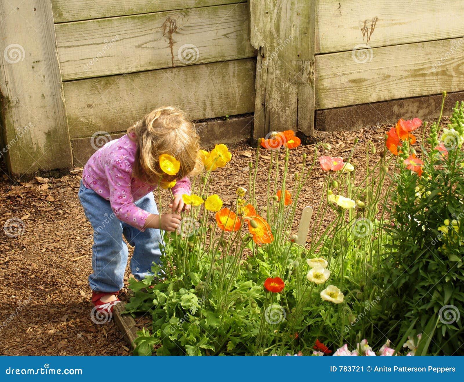 De ruikende bloemen van het meisje