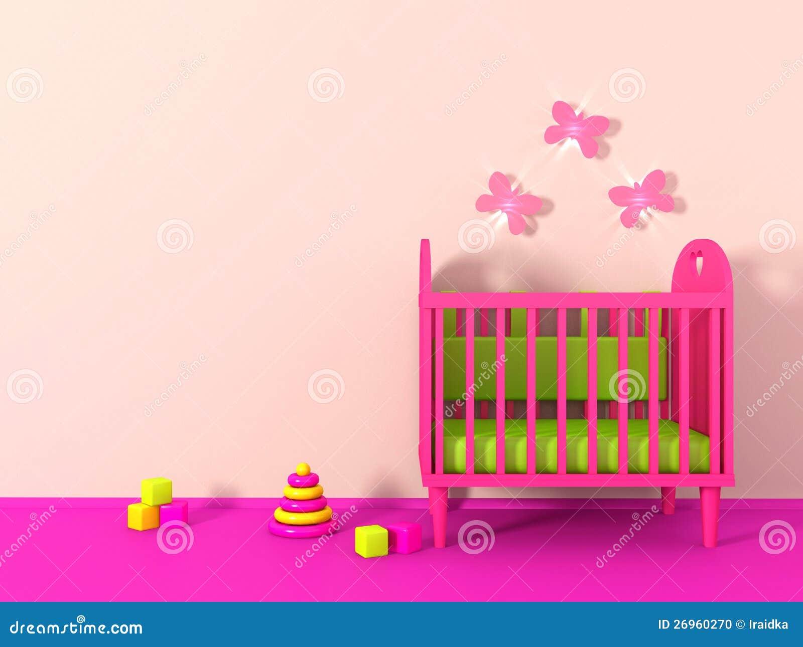 De ruimte van 3d meisje in roze kleur stock illustratie afbeelding 26960270 - Kleur muur slaapkamer meisje ...