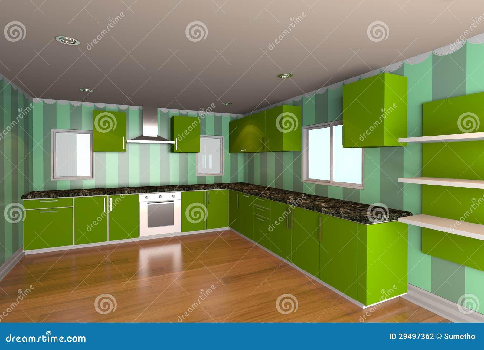 De ruimte van de keuken met groen behang stock illustratie