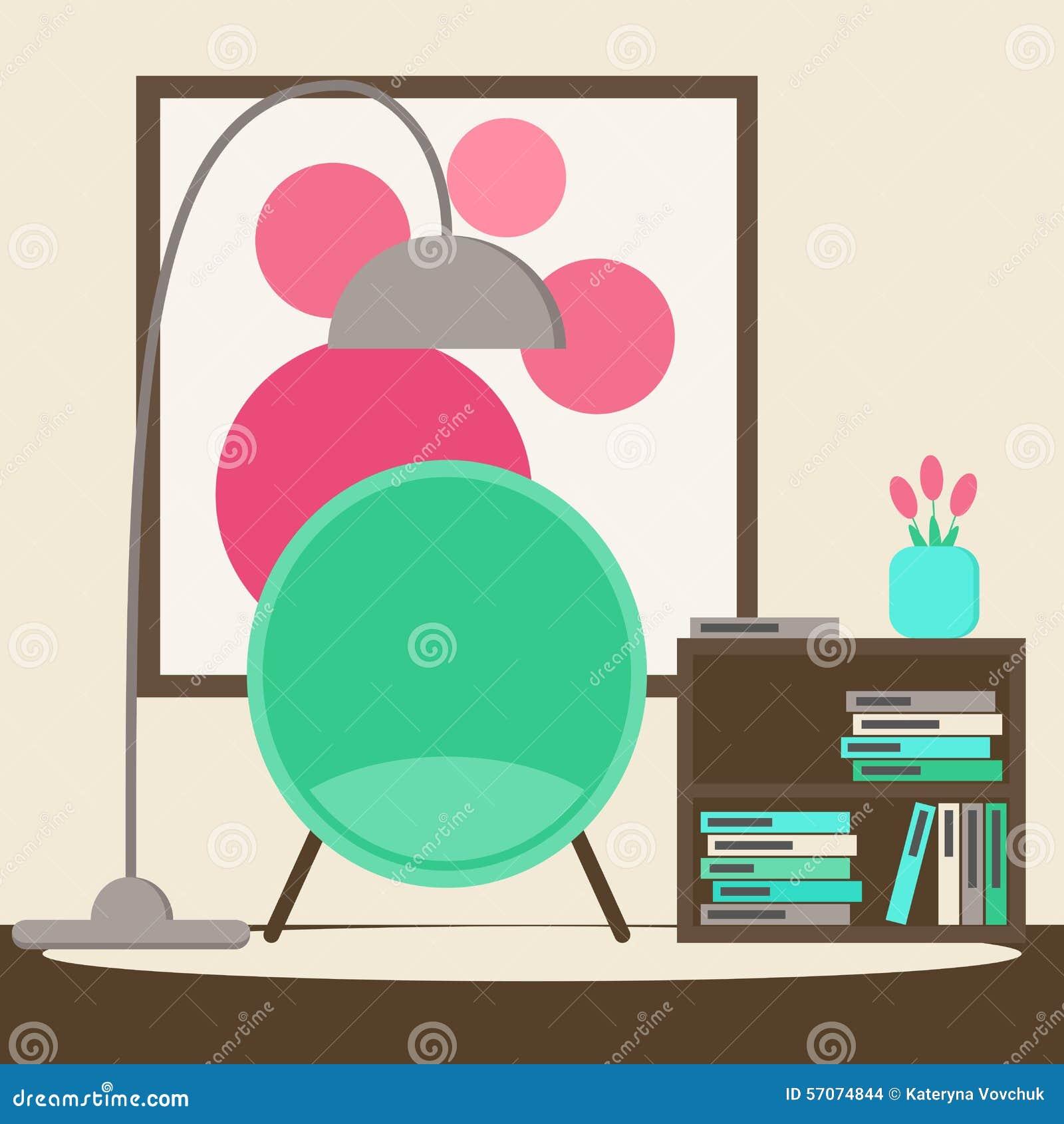 De ruimte van de woonkamerlezing met moderne stoel, boektribune, beeld en bloemen