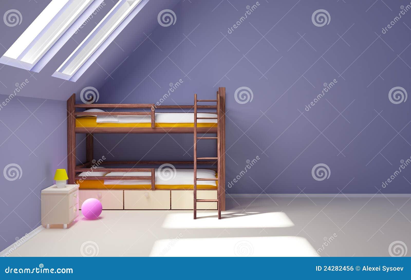 Zolder slaapkamer kind : van het kind met een bed op twee niveaus in ...