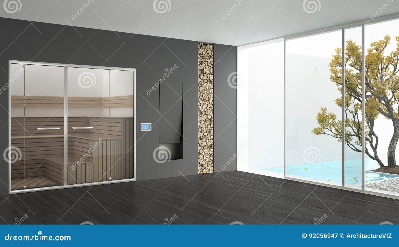 Open Haard Tuin : De ruimte van het kuuroordhotel met sauna en open haard zwembad