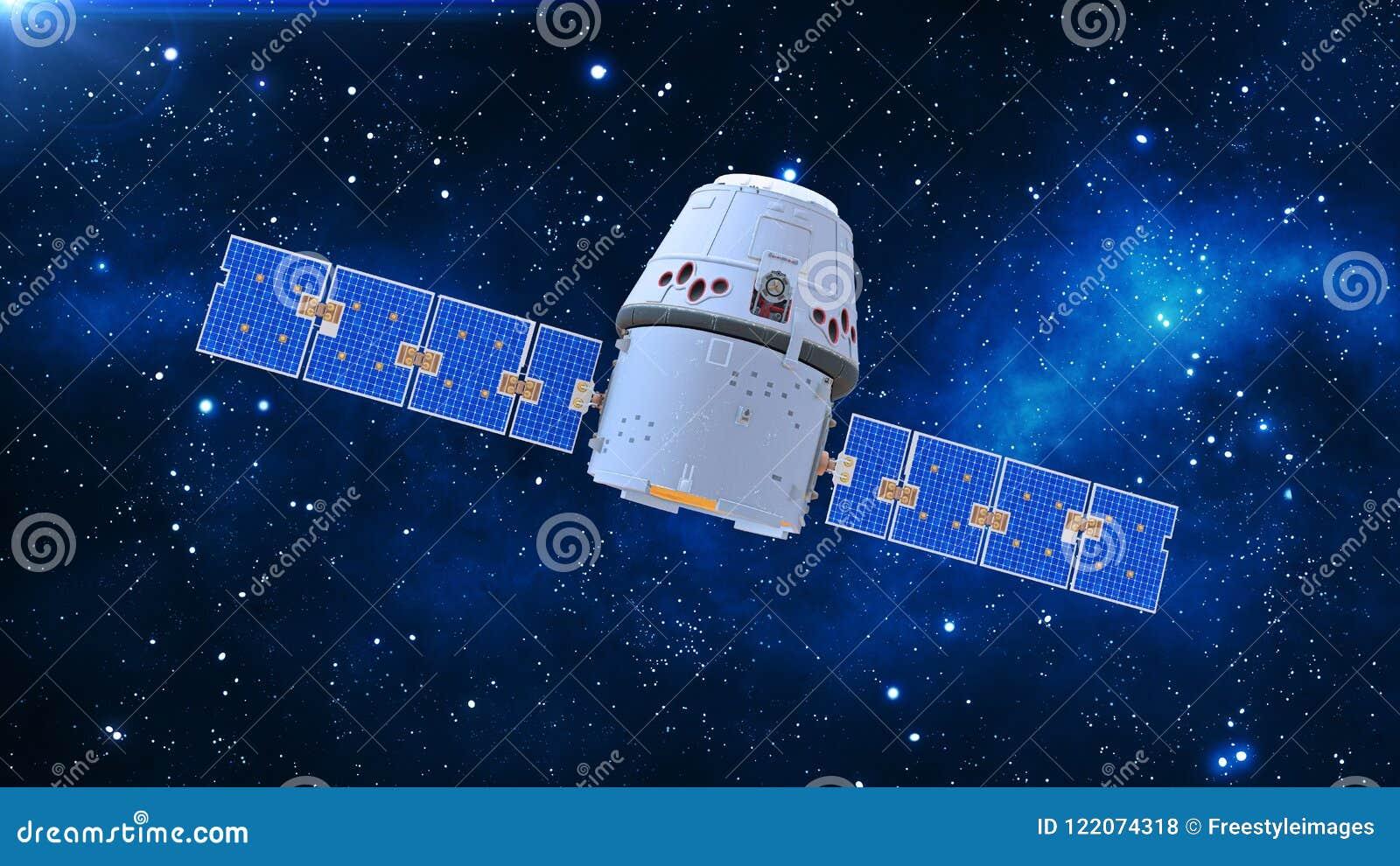 De ruimtesatelliet, de communicatiesatelliet met capsule en de zonnepanelen in kosmos met sterren op de 3D achtergrond, geven ter